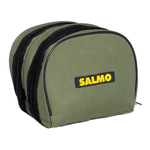 Чехол для катушек Salmo, цвет: зеленый, 18 см х 15 см х 15 см1957Чехол Salmo предназначен для переноски и хранения приманок. Он выполнен из прочного нейлона. Чехол имеет 2 вместительных отделения, закрывающихся на застежку-молнию. На передней части расположена резиновая нашивка с логотипом фирмы Salmo.