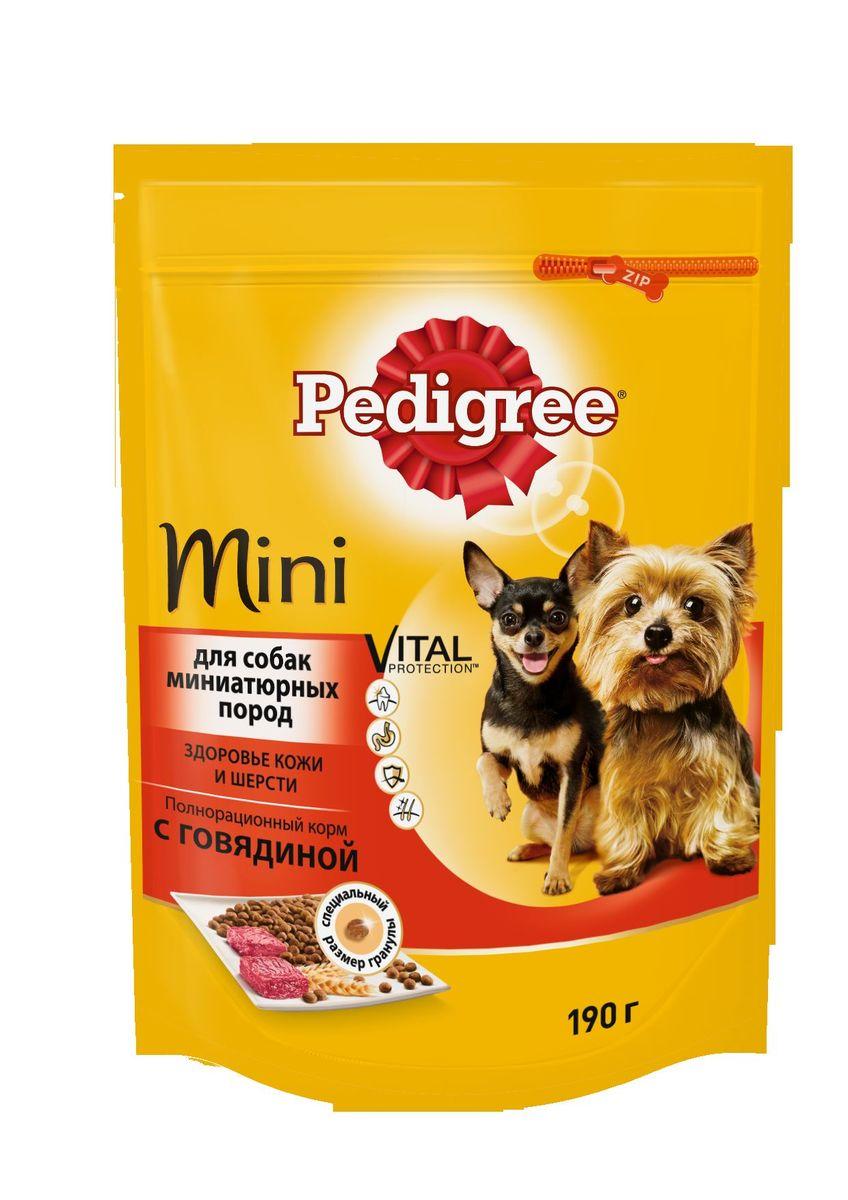 Корм сухой Pedigree для взрослых собак миниатюрных пород, с говядиной, 190 г40152Сухой корм Pedigree для собак миниатюрных пород - это полнорационный корм с курицей, который создан с учетом потребностей. Он состоит из качественных и натуральных ингредиентов: мяса, овощей, злаков. Он создан с учетом особенностей пищеварения самых маленьких, легко усваивается и обеспечивает правильную работу их желудочно-кишечного тракта. Состав: куриная мука, пшеничная мука, кукуруза, рис, мясная мука (в том числе говядина минимум 4%), жир животный, пшеница, свекольный жом, подсолнечное масло, минералы, витамины, метионин. Пищевая ценность (100 г): белки 22 г., жиры 15 г., зола 8 г., клетчатка 4 г., влажность не более 10 г., кальций 1,3 г., фосфор 0,8 г., натрий 0,3 г., калий 0,58 г., магний 0,1 г., цинк 20 г., медь 1,5 г., витамин А 1500 МЕ, витамин Е 20 мг., витамин D3 120 МЕ, витамин В1, В2, В4, В5, В12., ниацин, омега-6, омега-3, полиненасыщенные жирные кислоты. Энергетическая ценность (100 г): 365 ккал. Вес упаковки: 190 г. Товар...