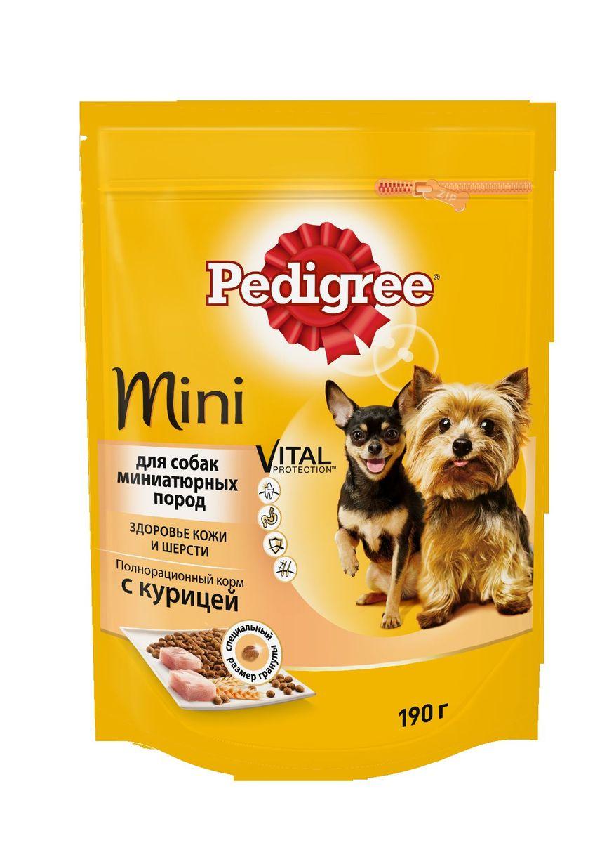 Корм сухой Pedigree для взрослых собак миниатюрных пород, с курицей, 190 г40153Сухой корм Pedigree для собак миниатюрных пород - это полнорационный корм с курицей, который создан с учетом потребностей. Он состоит из качественных и натуральных ингредиентов: мяса, овощей, злаков. Корм создан с учетом особенностей пищеварения самых маленьких, легко усваивается и обеспечивает правильную работу их желудочно-кишечного тракта. Состав: куриная мука, пшеничная мука, кукуруза, рис, мясная мука, жир животный, пшеница, свекольный жом, подсолнечное масло, минералы, витамины, метионин. Пищевая ценность (100 г): белки 22 г., жиры 15 г., зола 8 г., клетчатка 4 г., влажность не более 10 г., кальций 1,3 г., фосфор 0,8 г., натрий 0,3 г., калий 0,58 г., магний 0,1 г., цинк 20 г., медь 1,5 г., витамин А 1500 МЕ, витамин Е 20 мг., витамин D3 120 МЕ, витамин В1, В2, В4, В5, В12., ниацин, омега-6, омега-3, полиненасыщенные жирные кислоты. Энергетическая ценность (100 г): 365 ккал. Вес упаковки: 190 г. Товар сертифицирован.
