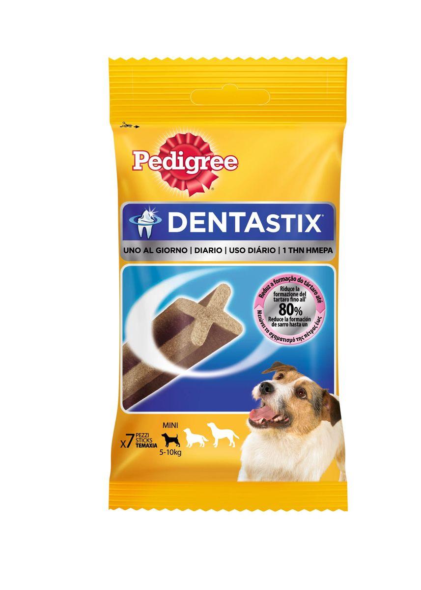 Лакомство Pedigree Denta Stix, для собак мелких пород, 110 г40165Лакомство Pedigree Denta Stix выполнено в виде жевательных палочек и предназначено для собак маленьких пород (весом 5 - 10 кг). Это прекрасное лакомство и средство для чистки зубов. Жевательное лакомство не подходит для щенков моложе 4-х месяцев. Состав: злаки, продукты растительного происхождения, минеральные вещества (включая 2,4%триполифосфата натрия), мясо и субпродукты, белковые растительные экстракты, ароматизатор говяжий - 1,33 мг/100 г, ароматизатор куриный - 2,20 мг/100 г. Пищевая ценность (в 100 г): белок - 9,5 г, жиры - 2,6 г, зола - 5,8 г, клетчатка - 2,8 г, влажность - 8,5 г, сульфат цинка - 104,5 мг. Вес упаковке: 110 г. Количество в упаковке: 7 шт. Товар сертифицирован.