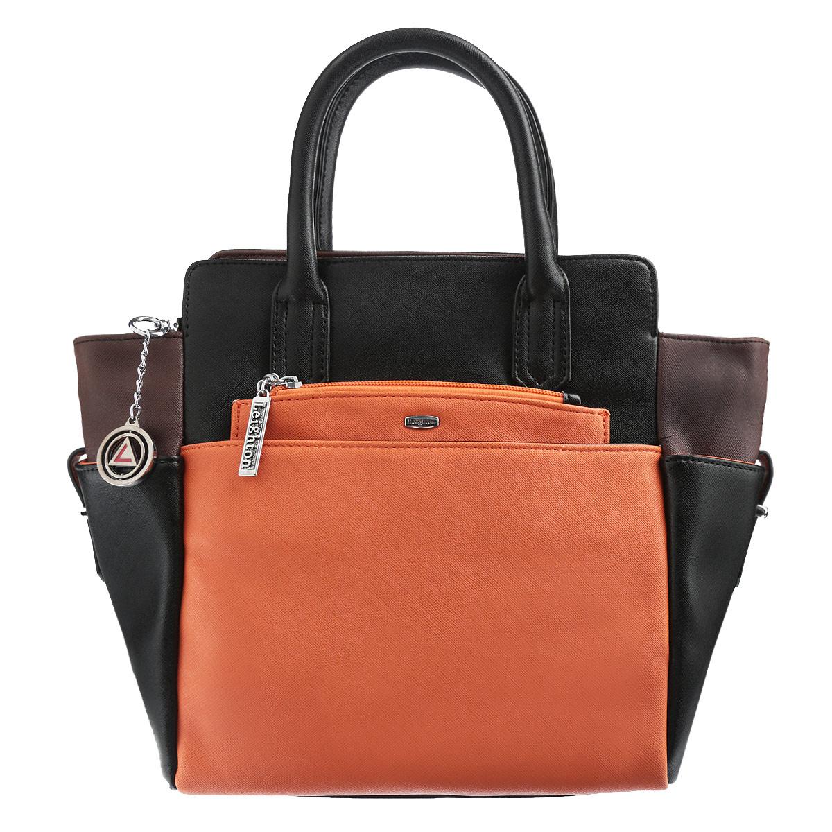 Сумка женская Leighton, цвет: черный, темно-коричневый, оранжевый. 570382-3769/1/3769/7/3769570382-3769/1/3769/7/3769Стильная женская сумка Leighton изготовлена из высококачественной искусственной кожи. Сумка состоит из одного большого отделения. Внутри расположены два накладных кармашка для мелочей, один вшитый карман на застежке-молнии и смежный карман на застежке-молнии. Тыльная и фронтальная стороны сумки дополнены карманами на магнитных кнопках. Также сумка дополнена съемным карманом-портмоне на цепочке, который надежно закрепляется на магнитной кнопке в одном из карманов, но при необходимости может быть извлечен. На внутренней части сумки находятся два прорезных кармана на застежке-молнии, расположенные выше основного отделения. Боковые стороны сумки также оснащены небольшими карманами на ремешках. Сумка имеет удобные ручки для переноски и плечевой ремень с регулируемой длиной. Дно защищено четырьмя металлическими ножками, обеспечивающими необходимую устойчивость. Сумка Leighton - это практичный и удобный аксессуар, который станет функциональным дополнением...
