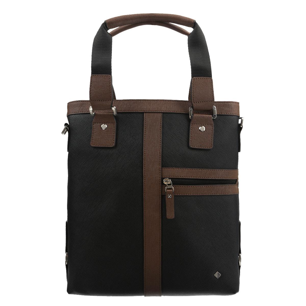 Сумка мужская Flioraj, цвет: черный, коричневый. 6092-05/96092-05/9Изысканная мужская сумка Flioraj выполнена из высококачественной натуральной кожи и оформлена фактурным тиснением, небольшой пластиной с логотипом бренда на лицевой стороне. Удобные ручки крепятся к корпусу сумки на металлическую фурнитуру. Изделие закрывается на застежку-молнию. Внутри - одно отделение, два накладных кармашка для мелочей и мобильного телефона, врезной карман на застежке-молнии, открытый карман и дополнительный отсек на застежке-липучке. На лицевой и обратной сторонах сумки расположены врезные карманы на молниях. Сумка оснащена съемный плечевым ремнем регулируемой длины. Изделие упаковано в фирменный чехол. Классическое цветовое сочетание, стильный декор, модный дизайн - прекрасное дополнение к гардеробу каждого мужчины.