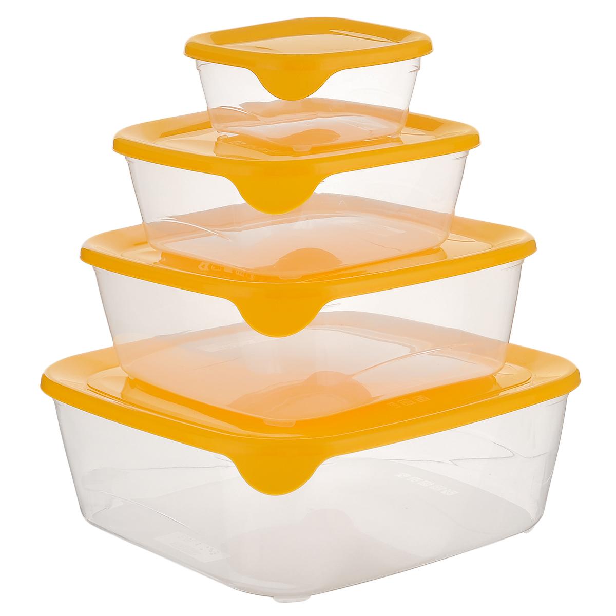 """Набор контейнеров для заморозки и СВЧ Curver """"Fresh & Go"""", цвет: желтый, 4 шт"""
