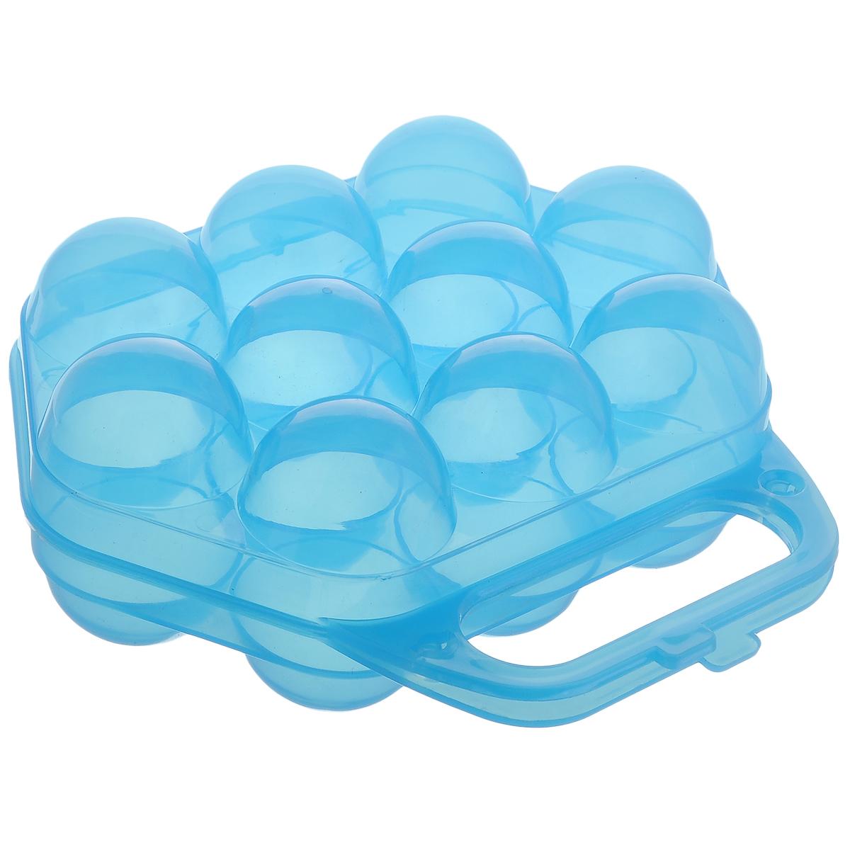 Контейнер для яиц Idea, на 10 шт, цвет: синий, 20 см х 19 см х 7,5 смМ 1210Контейнер Idea выполнен из полупрозрачного пластика в виде чемоданчика и предназначен для хранения яиц. Контейнер снабжен специальными ячейками для 10 яиц. Надежный защелкивающийся замок предотвратит случайное раскрытие контейнера. Контейнер не занимает много места, что очень удобно при транспортировке, а также при хранении. Размер контейнера: 20 см х 19 см х 7,5 см. Диаметр ячейки: 4,3 см.