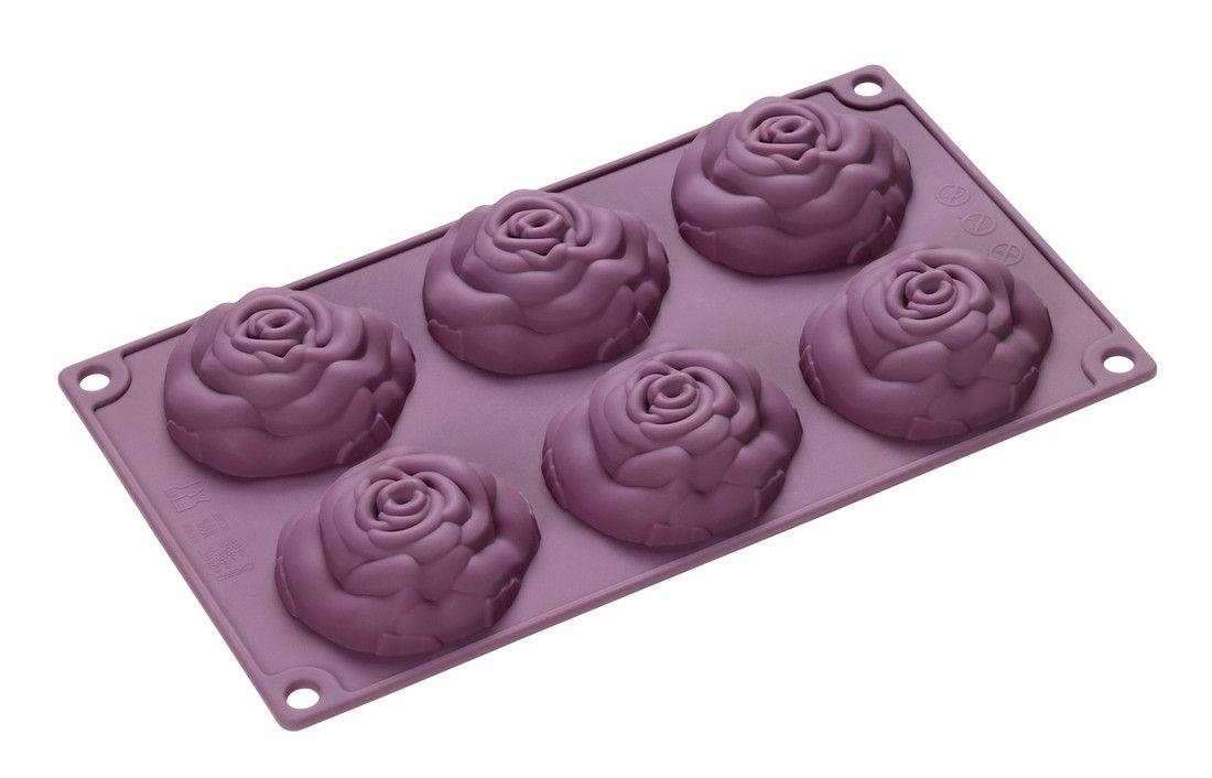 Форма для выпечки Lurch Rose, цвет: фиолетовый, 6 ячеек85060Форма для выпечки Lurch Rose, выполненная из силикона, будет отличным выбором для всех любителей домашней выпечки. Форма имеет 6 ячеек в виде роз. Изделие не требует смазывания и выдерживает диапазон температур от -40°С до +240°С. Быстро моется. Порадуйте себя и своих близких качественным и функциональным подарком. Можно мыть в посудомоечной машине. Размер ячейки: 8 см х 8 см х 3 см.