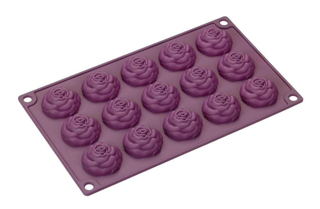 Форма для выпечки Lurch Rose, цвет: фиолетовый, 15 ячеек85065Форма для выпечки Lurch Rose, выполненная из силикона, будет отличным выбором для всех любителей домашней выпечки. Форма имеет 15 ячеек в виде роз. Изделие не требует смазывания и выдерживает диапазон температур от -40°С до +240°С. Быстро моется. Порадуйте себя и своих близких качественным и функциональным подарком. Можно мыть в посудомоечной машине. Размер ячейки: 4,5 см х 4,5 см х 3 см.