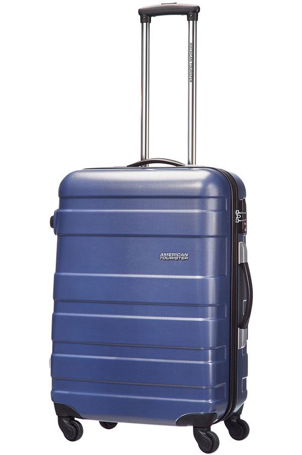 Чемодан American Tourister Pasadena, цвет: синий, 65 л76A*11004Чемодан American Tourister Pasadena прекрасно подойдет для путешествий. Выполнен из поликарбоната, материал внутренней отделки - полиэстеровая ткань серого цвета. Чемодан очень вместителен. Имеется одно большое отделение, которое закрывается по периметру на застежку-молнию с двумя бегунками. Внутри содержится большой отдел для одежды с багажными ремнями, соединяющимися при помощи пластикового карабина, скрытый отдел на молнии, а также сетчатый карман на молнии для различных аксессуаров. Такая организация позволяет удобно разложить вещи и избежать их сминания. Для удобной перевозки чемодан оснащен четырьмя маневренными колесами, которые обеспечивают легкость перемещения в любом направлении. Телескопическая ручка выдвигается нажатием на кнопку и фиксируется в одном положении. Сверху и сбоку предусмотрены ручки для поднятия чемодана. На одной из боковых сторон имеются ножки, благодаря чему чемодан можно ставить набок. Чемодан оснащен кодовым замком TSA, который...