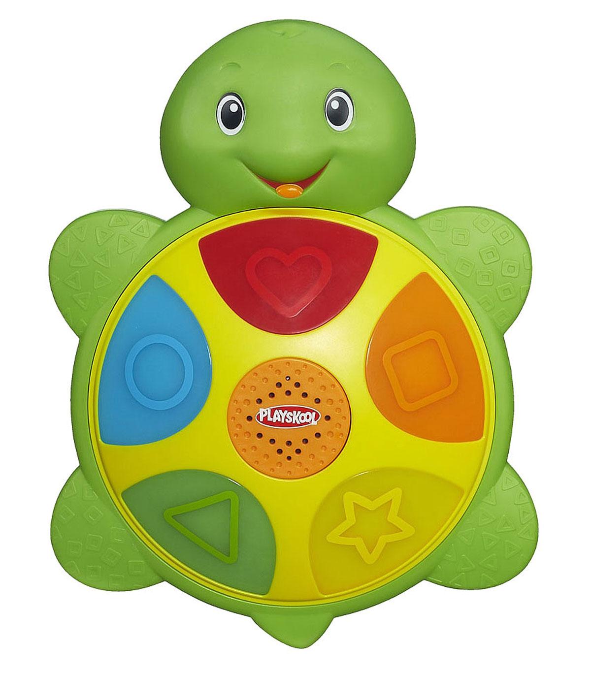 Развивающая игрушка Playskool ЧерепашкаA6046121Развивающая игрушка Playskool Черепашка привлечет внимание вашего малыша и не позволит ему скучать. Она выполнена из прочного безопасного пластика ярких цветов в виде милой черепашки, на панцире которой расположены шесть кнопок. На кнопках красного, оранжевого, желтого, зеленого и синего цветов изображены сердце, квадрат, звезда, треугольник и круг. При нажатии на кнопки, они подсвечиваются. Игрушка предусматривает четыре режима игры: Цвета - малыш знакомится с цветами, соответствующими кнопке; Формы - ребенок знакомится с формами, изображенными на кнопке; Музыка - при нажатии на кнопки звучат веселые нотки или мелодии; Следи за мной - кнопки по очереди задорно мигают, что учит кроху следить за движущимся объектом. Меняется режим путем нажатия на центральную кнопку. Игрушка Черепашка поможет ребенку развить цветовое и звуковое восприятия, внимание, память, мышление и мелкую моторику рук. Рекомендуется докупить 3 батареи...