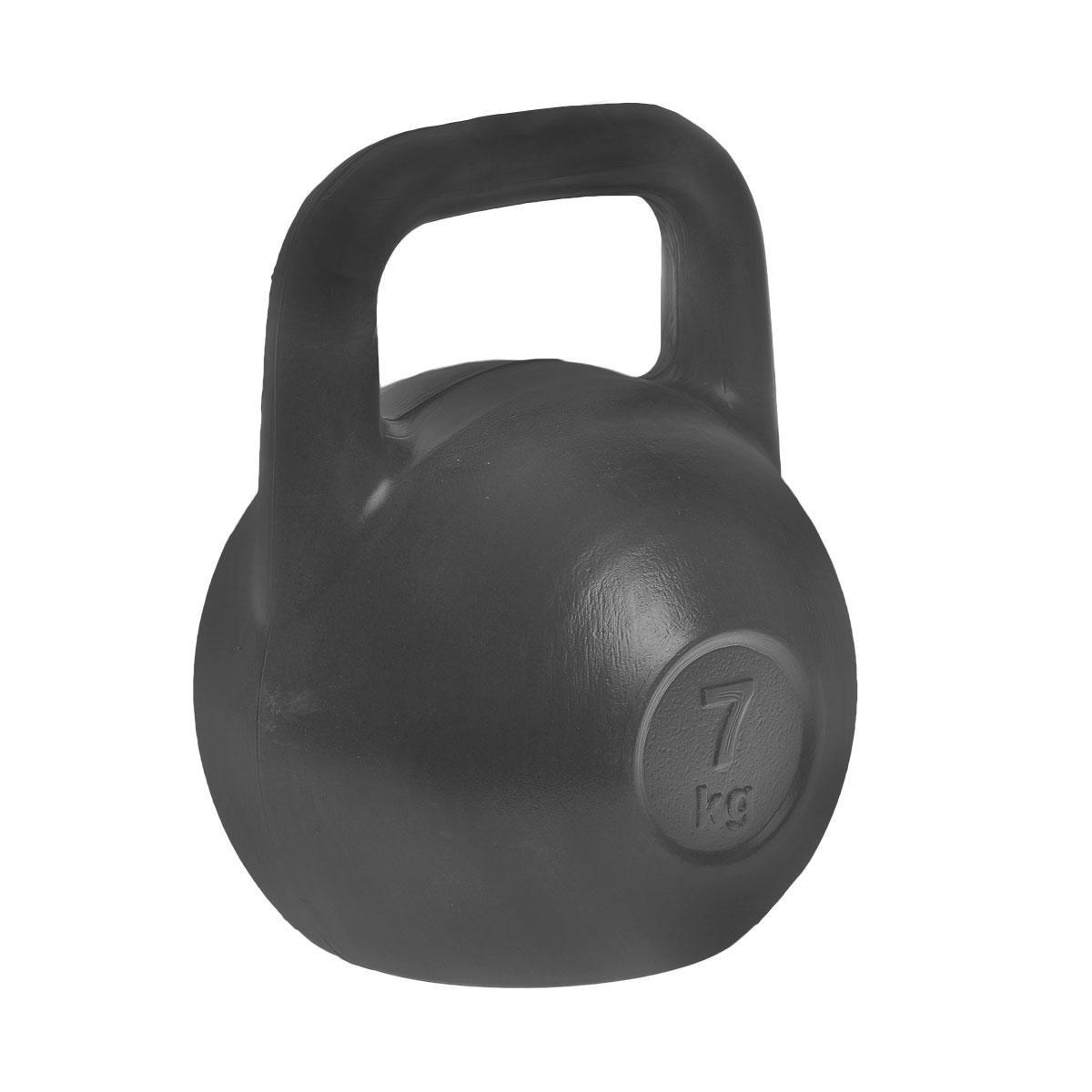Гиря Евро-Классик, цвет: черный, 7 кгES-0030Гиря Евро-Классик выполнена из прочного пластика с наполнителем из цемента. Эргономичная рукоятка не скользит в руке, обеспечивая надежный хват. Специальная конструкция гири значительно уменьшает риск получения спортсменом травмы. Гири - это самое простое и самое гениальное спортивное оборудование для развития мышечной массы. Правильно поставленные тренировки с ними позволяют не только нарастить мышечную массу, но и развить повышенную выносливость, укрепляют сердечнососудистую систему и костно-мышечный аппарат. Вес гири: 7 кг.