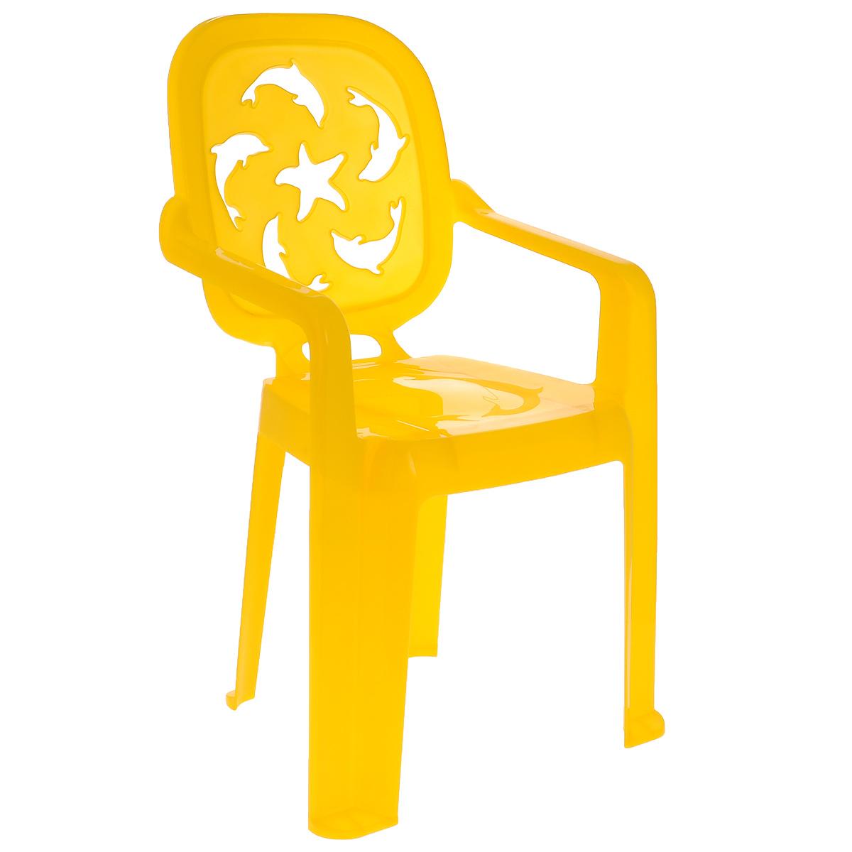 Стульчик детский Idea Океаник, цвет: желтыйМ 2288_ желтыйДетский стульчик Idea Океаник выполнен из высококачественного пластика. Прочный и удобный, без острых углов, неподверженный коррозии и легко транспортируемый стул прослужит долгие годы. Сиденье стульчика оформлено рельефным изображением дельфинов, а спинка оформлена перфорацией в виде дельфинов и морской звезды. Надежная опора ножек предотвращает опрокидывание стула. Детский стул Idea Океаник порадует вашего ребенка.