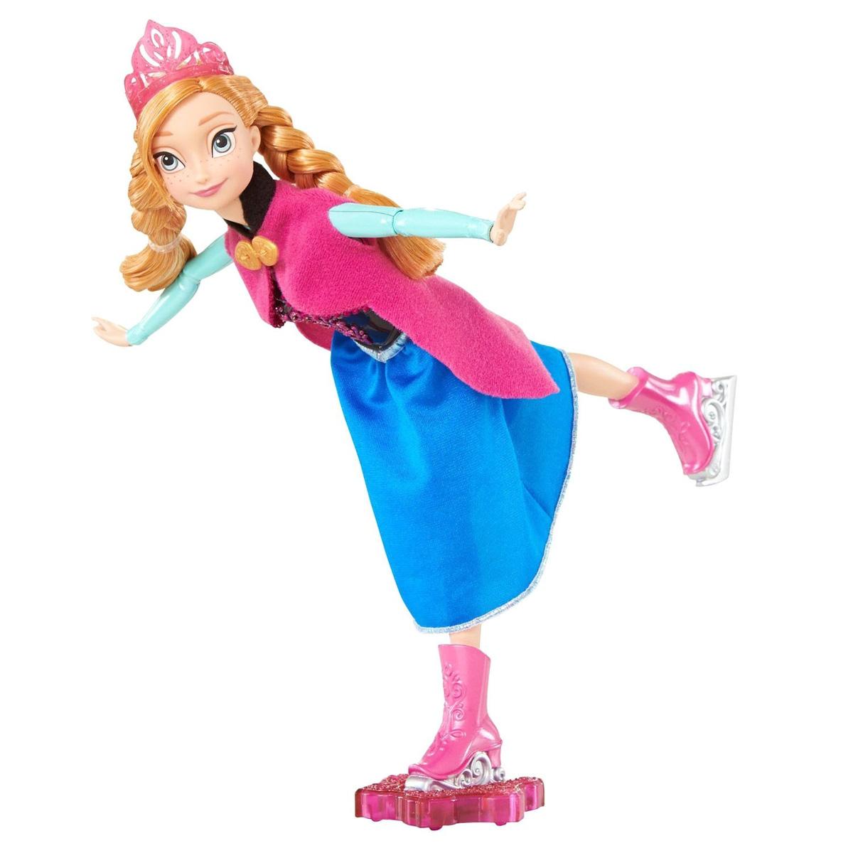 Disney Princess Кукла Холодное сердце Фигуристка АннаCBC61/CBC62Кукла Disney Frozen Холодное сердце. Фигуристка Анна поможет вашей малышке окунуться в сказочный мир. Куколка выполнена в виде главной героини диснеевского мультфильма Холодное сердце. Куколка одета в платье с цветочным узором и теплую розовую накидку, которая не дает ей замерзнуть, а на рыжих волосах куколки, заплетенных в две косы, красуется розовая корона. На ногах - коньки. Ручки, ножки и голова куколки подвижны. В комплект входит специальная подставка, с помощью которой куколку можно катать, представляя, как грациозно она катается на коньках. Ваша малышка с удовольствием будет играть с этой куколкой, проигрывая сюжеты из мультсериала или придумывая различные истории.
