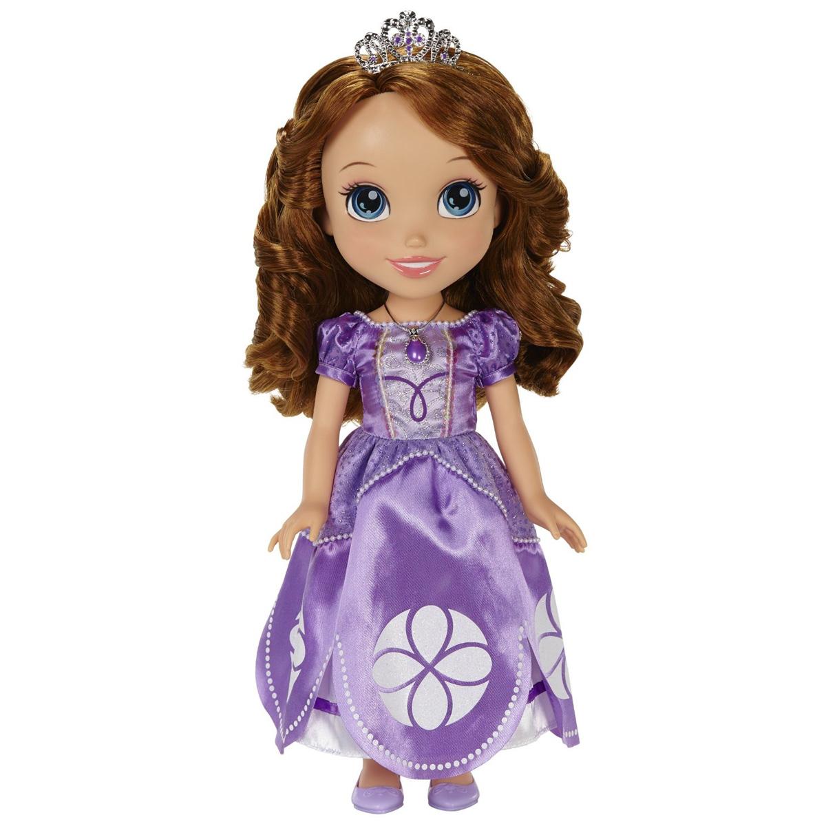 Disney Princess Кукла София цвет платья сиреневый931200Disney Princess Кукла София приведет в восторг вашу малышку и не позволит ей скучать. Кукла изготовлена из прочного безопасного пластика и отличается высоким качеством исполнения. Благодаря ее добрым глазкам и задорной улыбке, вам непременно захочется улыбнуться ей в ответ. София одета в роскошное сиреневое платье принцессы, украшенное бисером, пайетками и множеством блесток. Девочке понравятся ее шелковистые каштановые волосы, их так весело заплетать и расчесывать. Также в комплект входят украшения для девочки - королевская тиара, серьги и подвеска, оформленные в неповторимом стиле принцессы Софии. Disney Princess Кукла София подарит девочке неограниченный простор для фантазии и игр, малышка сможет часами играть с ней, придумывая различные истории и разыгрывая сцены из мультфильма.