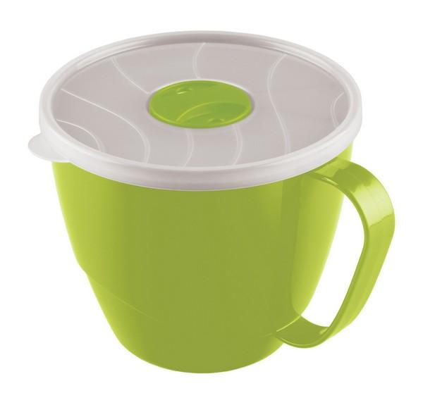 Контейнер-кружка для бульона Phibo, цвет: прозрачный, зеленый, 0,72 лС12941Контейнер-кружка Phibo изготовлен из пластика и не содержит Бисфенол А. Предназначен для супов, бульонов и напитков. Крышка прозрачная, легко и плотно закрывается, снабжена клапаном. Контейнер-кружка подходит для использования в микроволновых печах. Объем: 0,72 л.