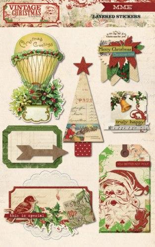 """Стикеры My Mind's Eye """"Vintage Christmas"""", 12,5 х 20 см, 7 шт"""