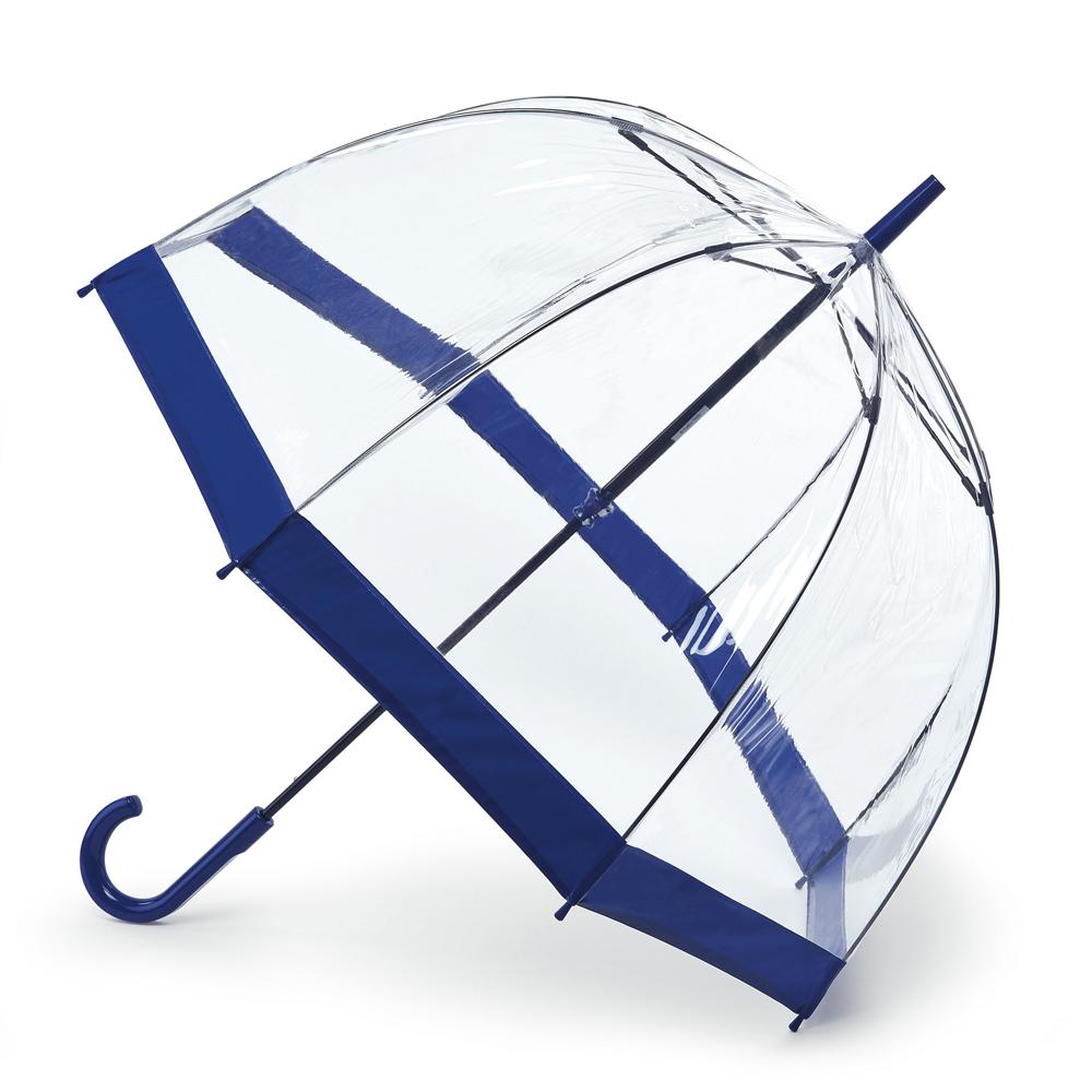 Зонт-трость женский Fulton BIRDCAGE, механический, цвет: синий. L041-033L041-033Стильный куполообразный зонт-трость Fulton BIRDCAGE выполнен из стали, прозрачного ПВХ и оформлен контрастным кантом. Каркас зонта выполнен из восьми стальных спиц с добавлением фибергласса. Зонт оснащен полуавтоматическим механизмом. Рукоятка закругленной формы разработана с учетом требований эргономики и изготовлена из металла. Зонт Eleganzza защитит от дождя и поднимет настроение в ненастную погоду.