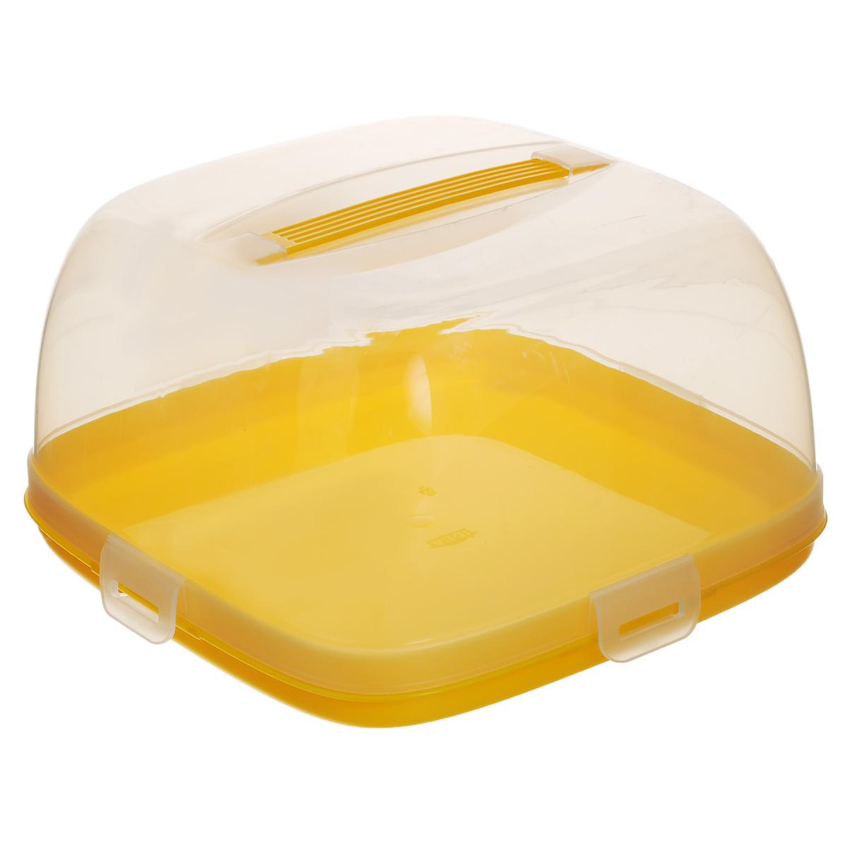 Тортница Idea, с защелками, цвет: прозрачный, желтый, 24 х 24 смМ 1121Тортница Idea изготовлена из высококачественного прочного пищевого пластика. Она состоит из квадратного двухстороннего поддона и прозрачной крышки. Благодаря четырем защелкам крышка плотно сидит на подносе, что позволяет сохранить первоначальную свежесть торта и защитить его от посторонних запахов. Крышка тортницы имеет удобную ручку для переноски. Размер поддона: 24 см х 24 см. Высота борта: 2,5 см. Высота крышки: 12,5 см. Уважаемые клиенты! Обращаем ваше внимание на возможные изменения в дизайне упаковки. Качественные характеристики товара остаются неизменными. Поставка осуществляется в зависимости от наличия на складе.