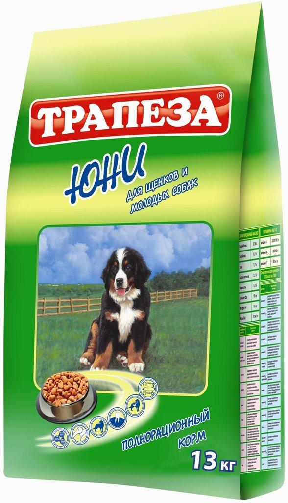 Корм сухой Трапеза Юни для щенков и молодых собак, 13 кг29650Рацион Трапеза Юни отвечает всем потребностям растущего организма щенка благодаря тщательно сбалансированному содержанию протеина, жира, клетчатки, витаминов и минералов. Высококачественные жиры, стабилизированные витаминами Е и С, обеспечат организм щенка необходимым количеством энергии для роста и активной жизни. Легкоусвояемый протеин мяса птицы и рыбы способствует гармоничному росту мышечной массы и костной системы молодого организма. Оптимальное содержание в рационе клетчатки улучшит перистальтику формирующейся пищеварительной системы щенка. Корм Трапеза Юни послужит прочной основой здоровья и долголетия вашего питомца. Корма Трапеза снижают риск возникновения аллергических реакций благодаря отсутствию искусственных красителей и антиоксидантным свойствам витамина Е - натурального консерванта.