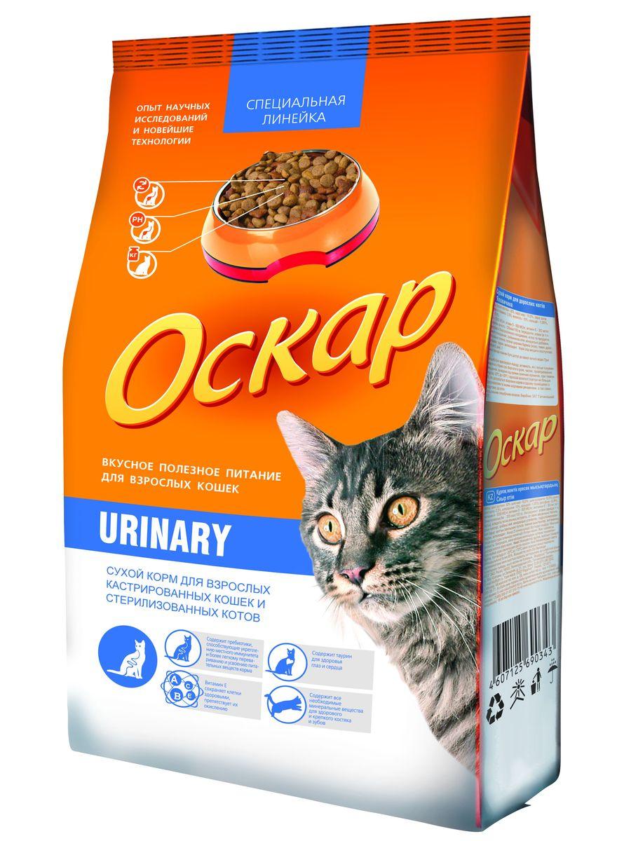 Корм сухой Оскар Urinary для стерилизованных кошек и кастрированных котов, 400 г00220Сухой корм Оскар Urinary является вкусным и полезным питанием для кастрированных котов и стерилизованных кошек. Комплекс минералов и нейтральный рН помогает сохранить здоровье мочевыводящих путей. Сбалансированная энергетическая формула поддерживает оптимальный вес животного. Уникальная рецептура способствует выведению комков шерсти и предотвращает образование новых. Корм Оскар изготавливается из натуральных продуктов высшего качества, не содержит красителей и вкусовых добавок, сочетает в себе все необходимые для здоровья и нормального развития вашего любимца витамины и минеральные вещества. Характеристики: Состав: злаки (в т.ч. рис), экстракт белка растительного происхождения, мясо и мясопродукты, минеральные добавки, подсолнечное масло, пульпа сахарной свеклы (жом), пивные дрожжи, витамины, таурин, антиоксиданты. Пищевая ценность: сырой протеин 30%, сырой жир 10%, влажность 10%, сырая зола 6,5%, сырая клетчатка...