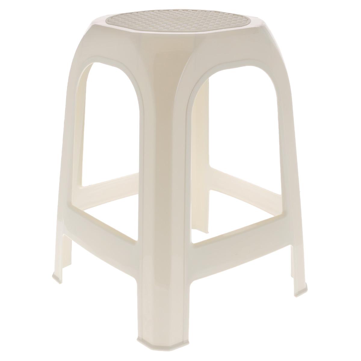 Табурет Idea, цвет: бежевый, высота 46 смМ 2294Табурет Idea выполнен из прочного высококачественного пластика. Надежная опора ножек предотвращает опрокидывание табурета. Сиденье изделия оформлено рельефным рисунком под плетение. Такой табурет обязательно пригодятся и дома, чтобы разместить гостей за кухонным столом, и на даче, чтобы организовать место для отдыха или обеда на свежем воздухе.