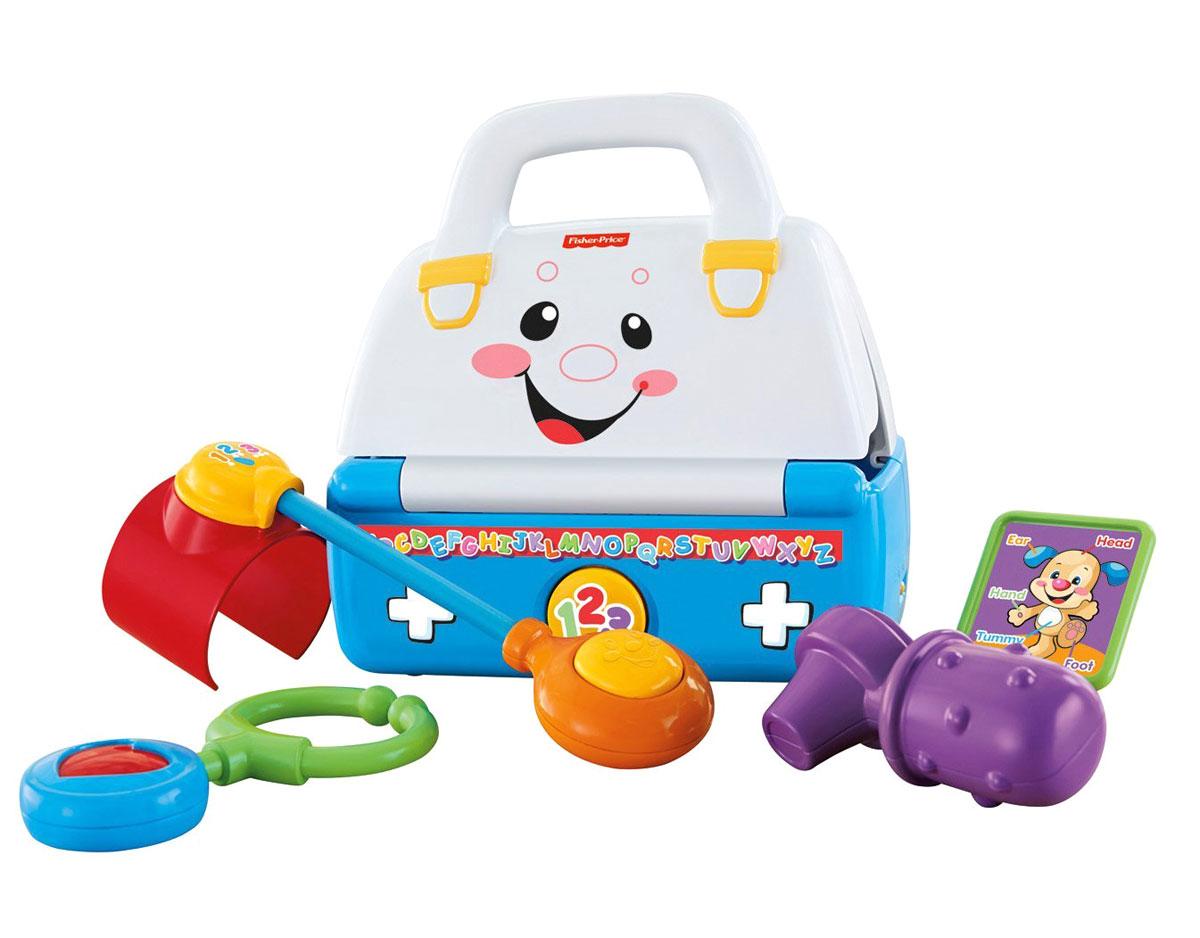 Fisher Price Смейся и учись Музыкальная аптечкаCDF62Развивающая игрушка Fisher Price Музыкальная аптечка - это веселая и полезная игрушка для малыша. Она поможет малышу познакомиться с буквами, научит его словам-антонимам, приветствиям и названиям частей тела. Игрушка выполнена из прочного пластика в виде аптечки с улыбающимся личиком, изображенным на откидывающейся крышке. Также в набор входит манжета для тонометра с кнопкой-пищалкой, стетоскоп, обучающая карточка с названиями частей тела (голова, ухо, рука, живот, нога) и отоскоп, который можно грызть - благодаря своему рельефу он мягко массирует десны малыша, облегчая рост зубов. Игрушка предусматривает два режима - Обучающий и Музыкальный. Аптечка воспроизводит более 25 обучающих песенок, мелодий и фраз и идеально подходит для игры в доктора. Малыш научится открывать и закрывать аптечку, а игра с инструментами развивает навыки логического мышления. Аптечка оснащена удобной ручкой для переноски. Все элементы набора можно хранить внутри игрушки. Игры с...