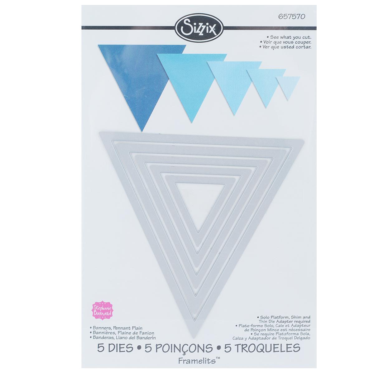 Форма-трафарет для вырубки Sizzix Треугольники, 5 шт.657570С помощью форм-трафаретов для вырубки Sizzix Треугольники можно создать оригинальные фигуры. Формы для вырубки - это определенной формы ножи, обеспечивающие форму вырубной фигуры. В комплект входит 5 форм-трафаретов, выполненных из металла. Они режут бумагу, картон и ткань. Формы станут незаменимыми при создании скрап-страничек, открыток и конвертов с резными декоративными фигурками и ажурными украшениями. Формы для вырубки разнообразят вашу работу и добавят вдохновения для новых идей. Формы подходят для машинки для вырубки и эмбоссирования Big Shot. Размер наибольшей формы: 12 см х 11,8 см. Размер наименьшей формы: 4,1 см х 4 см.