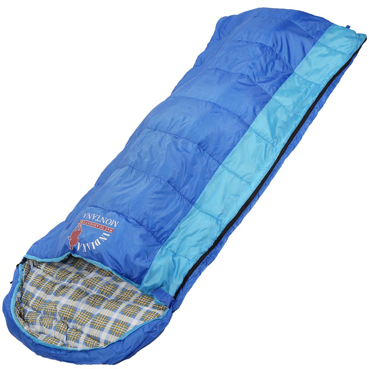 Спальный мешок-одеяло Indiana Montana R-zip от -4 C, цвет: синий, голубой, правосторонняя молния, 180+35 см х 90 см360700035Комфортный спальный мешок с подголовником. Благодаря увеличенным размерам и возможности соединения двух спальных мешков с правой и левой молнией, спальный мешок Indiana Montana является оптимальным выбором для отдыха на природе, туризма и кемпинга, в том числе и в прохладное время года.