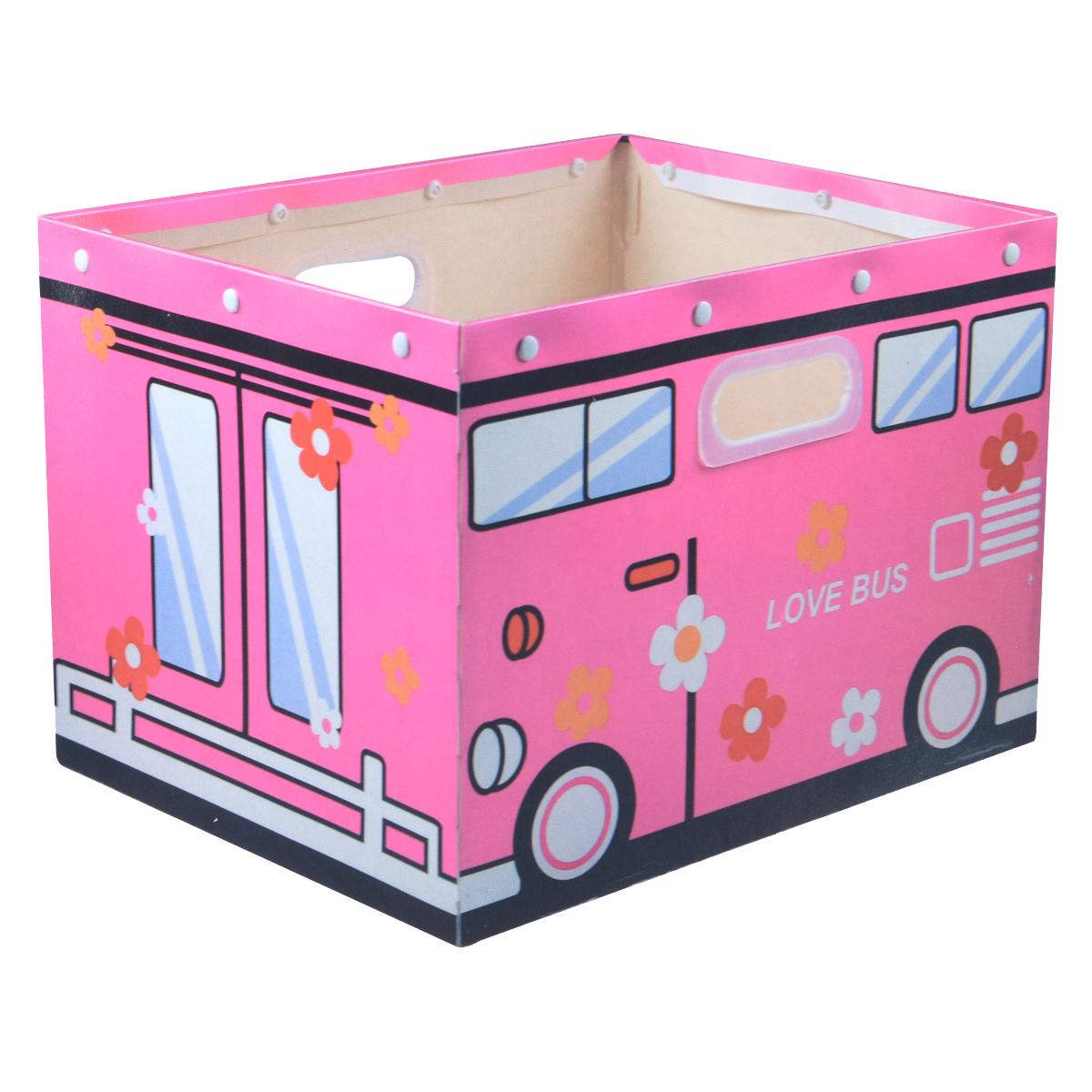 Коробка для хранения House & Holder Love Bus, цвет: розовый, 38 х 30 х 27 смDB-59Декоративная коробка для хранения House & Holder Love Bus изготовленная в виде замечательного автобуса, станет незаменимым помощником для всех членов семьи, но особенно для детей. Благодаря ее универсальности в ней можно хранить самые разнообразные вещи: от предметов домашнего обихода до детских игрушек и книжек, а плотно прилегающая крышка защитит их от влаги и пыли. Удобные ручки обеспечат комфорт при переноске. Размер коробки: 38 см х 30 см х 27 см.
