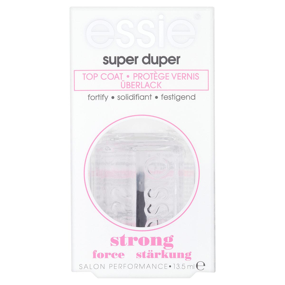Essie Верхнее покрытие для укрепления и блеска Super Duper, 13,5 млB2255802Верхнее покрытие для укрепления и блеска Super Duper защищает маникюр от сколов и отслаивания лака и придает бриллиантовое сияние.