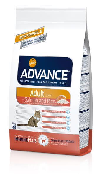 Корм сухой Advance Adult для взрослых кошек, лосось с рисом, 1,5 кг532211Корм Advance Adult с лососем и рисом - высококачественный сбалансированный полнорационный корм для кошек в возрасте от одного года до 10-ти лет. Корм содержит соответствующий уровень протеинов и жиров - для оптимального питания взрослой кошки. Таурин- незаменимая аминокислота, необходимая для отличного зрения и здоровья сердечно-сосудистой системы вашей кошки. Жирные кислоты Омега 3 и Омега 6 - способствуют здоровью кожи и блеску шерсти, снижают риск сердечных заболеваний и воспалительных процессов. Препятствует образованию зубного камня, что уменьшает рост бактерий, освежает дыхание. Состав: лосось (18%), рис (17%), гидролизные животные белки, дрожжи, плазматические белки, животные жиры (стабилизированные витамином E), клейковина пшеницы, кукуруза, кукурузная клейковинная мука, обезвоженные белки домашней птицы, пирофосфат тетранатрия, пшеница, хлористый калий, цитрусовые экстракты обогащённые биофлавоноидами, яичный порошок. Пищевая ценность: протеин - 35%, жир -...