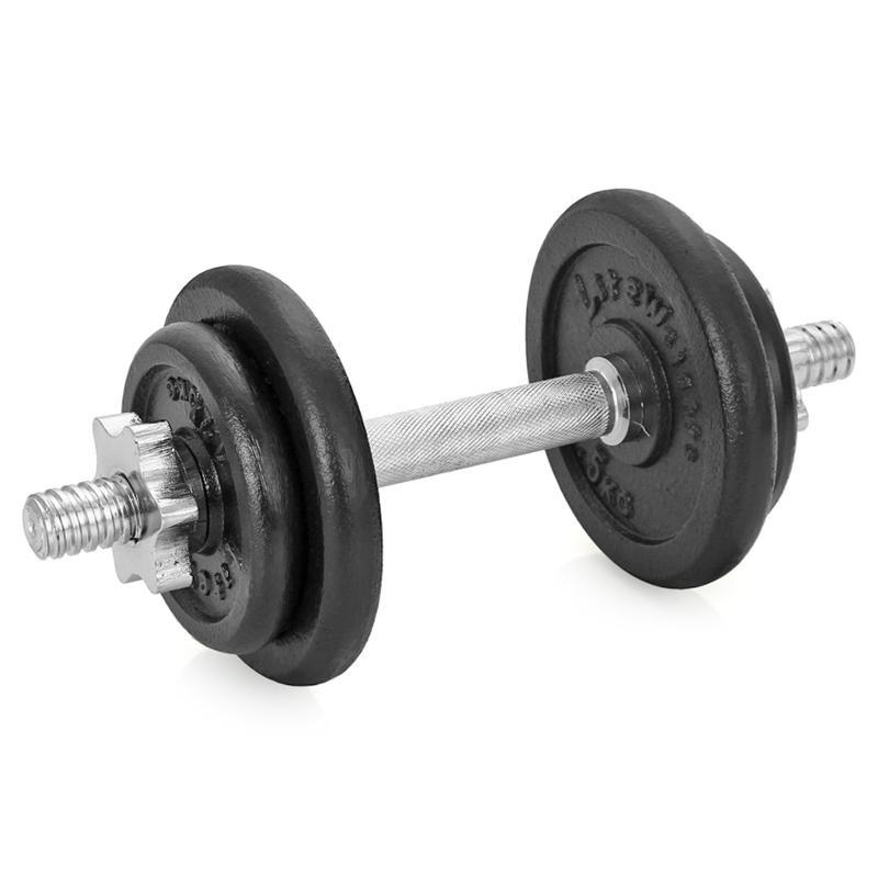 Гантель сборная Lite Weights, 9,43 кг4542LWСборная гантель состоит из 4-х дисков, изготовленных из чугуна и стального хромированного грифа. Гантель помогает укрепить мышцы рук, грудной клетки, верхней части спины и плеч. Благодаря небольшому размеру гантель удобно хранить, она не займет много места в квартире. Внутренний диаметр дисков: 24,4 мм. В комплект входят 4 диска: 2 х 1,25 кг, 2 х 2,5 кг. Диаметр грифа: 25,4 мм. Длина: 350 мм. В комплекте замок-гайка 2 шт. Общий вес гантели: 9,43 кг.
