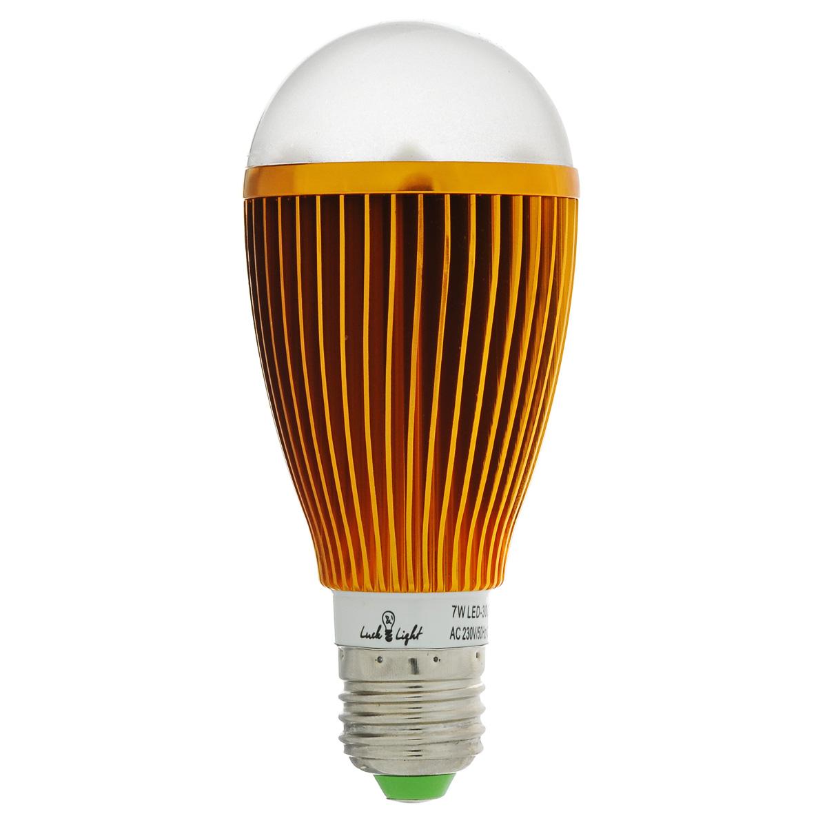 Светодиодная лампа Luck & Light, теплый свет, цоколь E27, 7W. L&L-B7WC-WB7WC-WСветодиодная лампа Luck & Light инновационный и экологичный продукт, специально разработанный для эффективной замены любых видов галогенных или обыкновенных ламп накаливания во всех типах осветительных приборов. Основные преимущества лампы Luck & Light: Экономия до 80 % энергии. Средний срок службы 30000 ч.