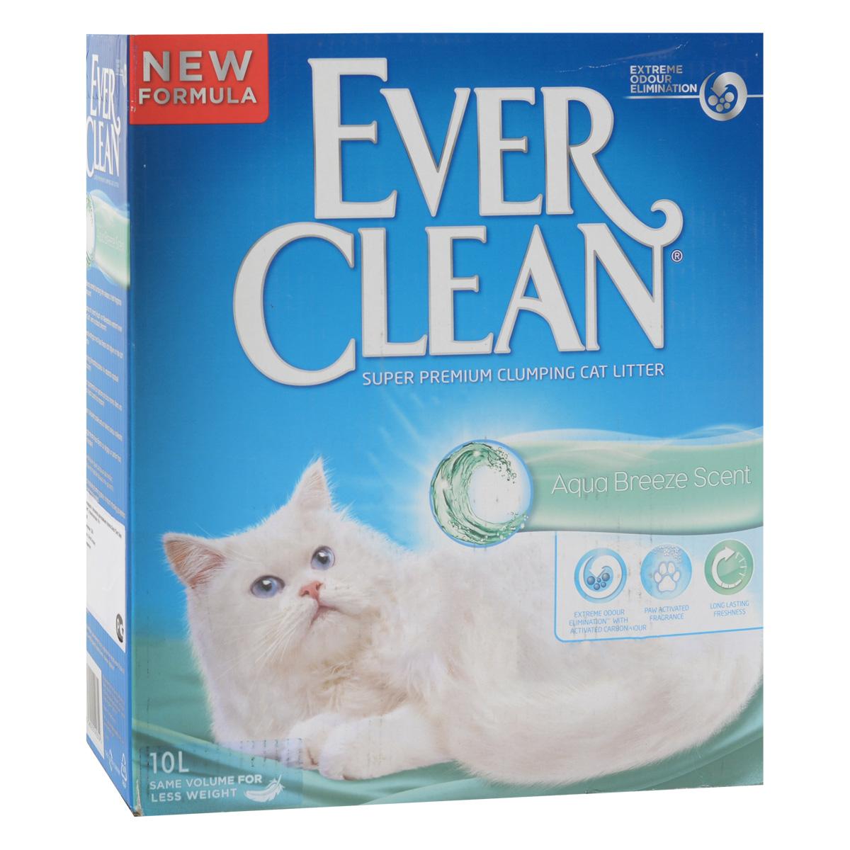 """Наполнитель для кошачьего туалета Ever Clean """"Aqua Breeze Scent"""", комкующийся, с ароматизатором, 10 л 490648"""