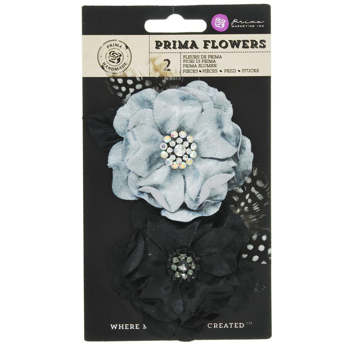 Декоративный элемент Prima Flowers Plume, цвет: черный, серый, 2 шт575526Набор Prima Flowers Plume, изготовленный из текстиля, состоит из двух декоративных элементов в виде цветков. Изделия, украшенные стразами и перьями, предназначены для декорирования. Цветы идеально подойдут для свадебных, винтажных творческих работ, изготовления украшений для волос, фотоальбомов, дневников, блокнотов. Они могут пригодиться в оформлении одежды, предметов интерьера, подарков, а также в скрапбукинге. Диаметр: 8 см.