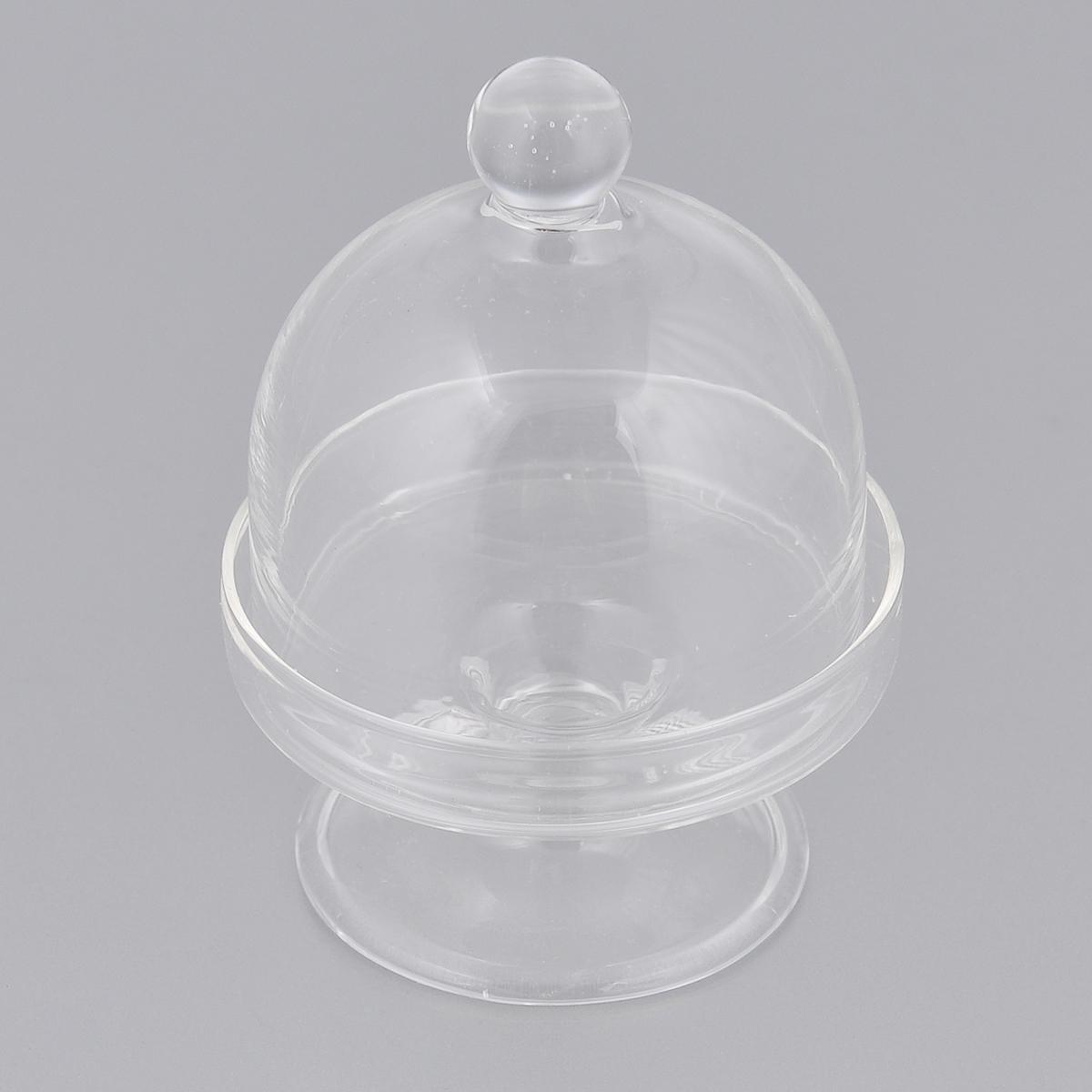 Пирожница c куполом Dolce Arti Шарик, диаметр 5,5 смDA010101Пирожница c куполом Dolce Arti изготовлена из прозрачного стекла. Изделие представляет собой изящную тарелочку на ножке и крышку-купол с ручкой в виде шарика. Такая пирожница может использоваться как столовая посуда для хранения миниатюрных пирожных, конфет и сладостей, а также прекрасно подойдет как декоративный элемент. Изделие по своему усмотрению можно задекорировать в техниках декупаж или роспись. Также подходит для различных творческих изделий во флористических и других композициях. Диаметр: 5,5 см. Высота пирожницы (с куполом): 8,5 см.