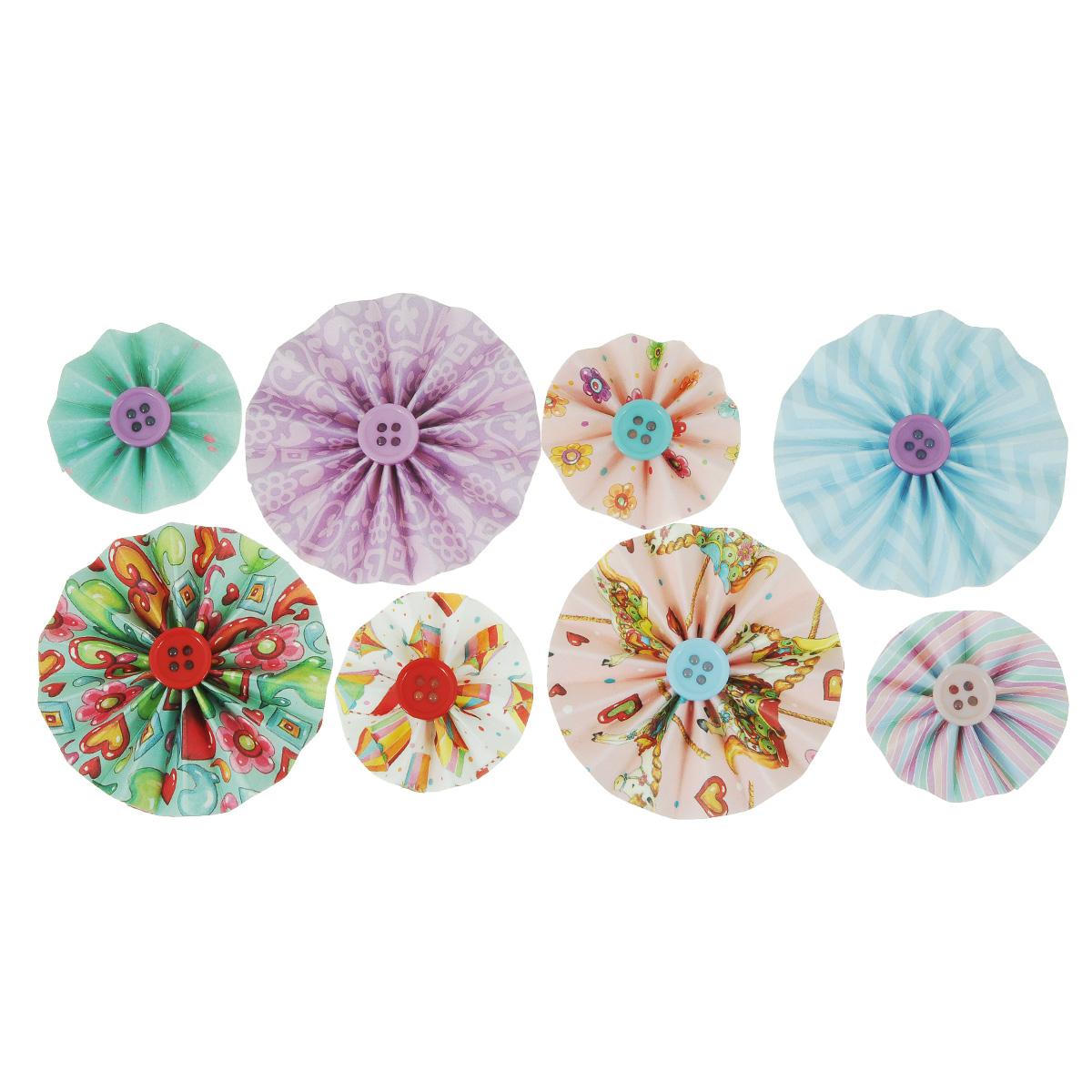 Стикеры-гармошки Trimcraft Fun Fair, 8 штHCST022Стикеры-гармошки Trimcraft Fun Fair, выполненные из бумаги, прекрасно подойдут для оформления творческих работ в технике скрапбукинга. Их можно использовать для украшения фотоальбомов, скрап-страничек, подарков, конвертов, фоторамок, открыток и многого другого. В наборе - 8 стикеров разного диаметра и дизайна, выполненные из бумаги и декорированные декоративными пуговицами. Задняя сторона клейкая. Диаметр элемента: 3 см, 5 см.