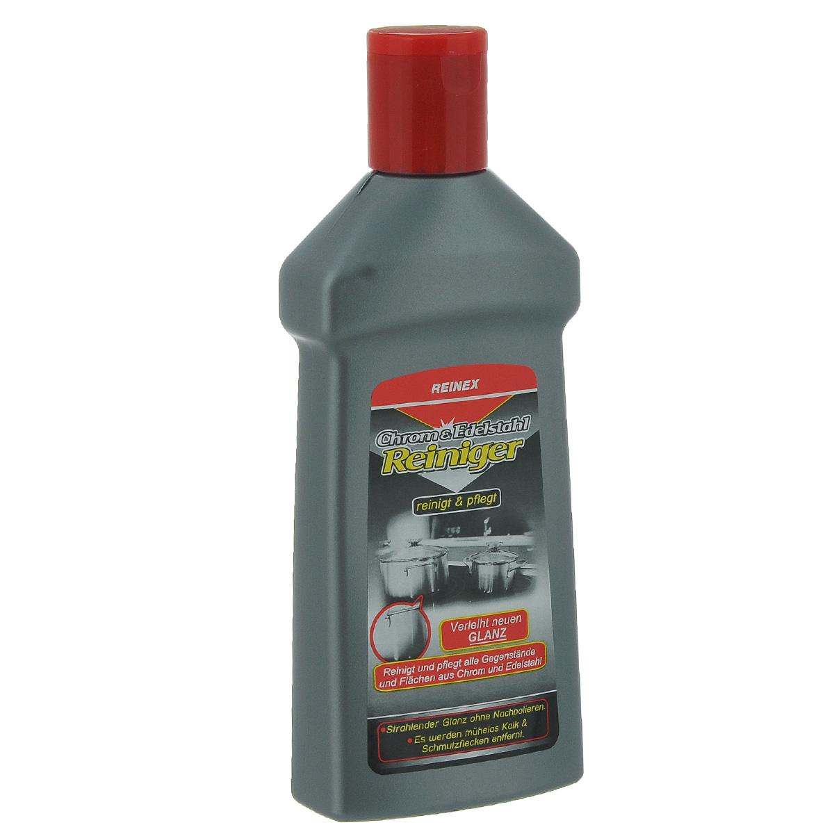 Средство для чистки и полировки хрома и стали Reinex, 250 мл10353Средство Reinex предназначено для чистки и полировки стали, хрома, меди, алюминия, латуни, железа и других металлов. Идеально для столовых приборов и кастрюль. Средство удаляет все виды загрязнений без царапин, создает блестящий глянец на поверхности, покрывает защитной пленкой. Состав: >5% анионные и неионные ПАВ, ароматизаторы, силиконовое масло, органические кислоты. Товар сертифицирован.
