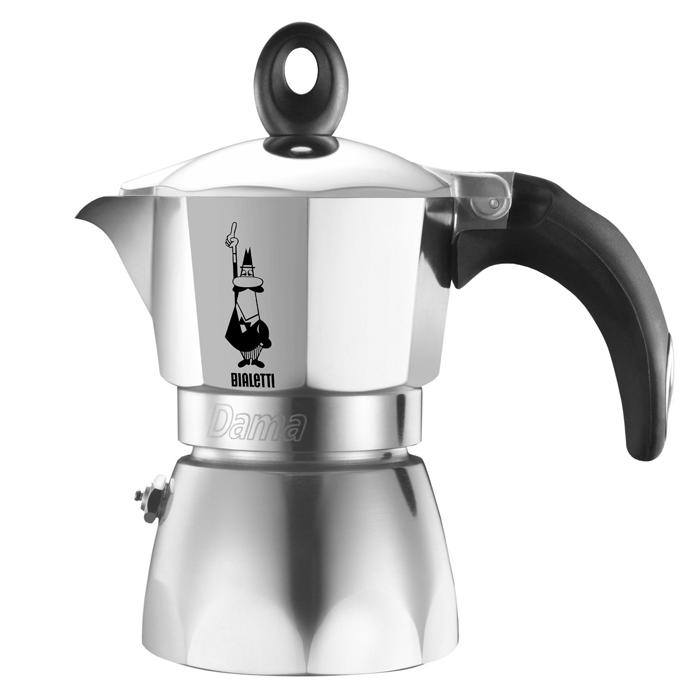 Гейзерная кофеварка Dama, 6 порций, коробка2153Инновационная элегантная кофеварка.Кофе на ваш вкус благодаря возможности выбора количества кофе и смешиванию сортов кофе.Корпус из полированного алюминия . Нескользящая силиконовая ручка с металлической вставкой повторяет форму кнопки.Кнопка давления вынимается и промывается. Высота: 22.6 см Ширина: 17.4 см Глубина: 12.4 см Применение: Для приготовления кофе на электрических и газовых плитах, а так же других нагревающих поверхностях.