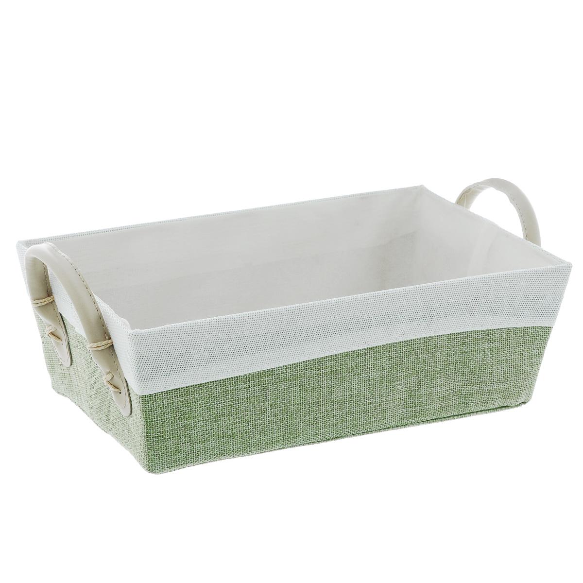 Корзина Kesper, с ручками, цвет: белый, светло-зеленый, 29 х 16 х 9,5 см1930-7Прямоугольная корзина Kesper изготовлена из высококачественного пластика и обшита ярким текстилем. Она предназначена для хранения хлеба, а также мелочей дома или на даче. Позволяет хранить мелкие вещи, исключая возможность их потери. Изделие оснащено удобными ручками из искусственной кожи. Корзина очень вместительная. Элегантный выдержанный дизайн позволяет органично вписаться в ваш интерьер и стать его элементом. Размер корзины по верхнему краю (без учета ручек): 29 х 16 см. Высота корзины (без учета ручек): 9,5 см.