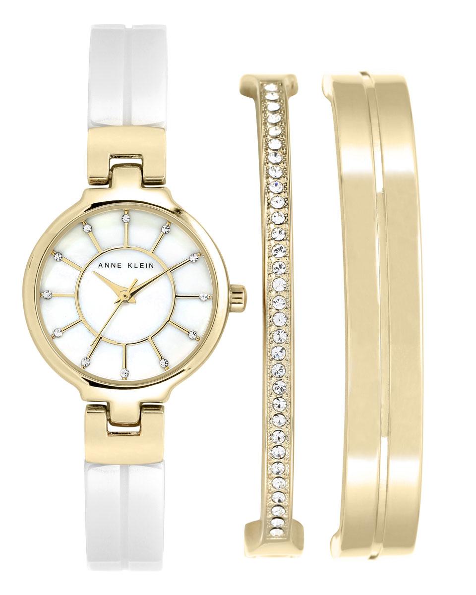 """Набор Anne Klein """"RING"""": часы, два браслета, цвет: белый, золотой. 2048GBST"""