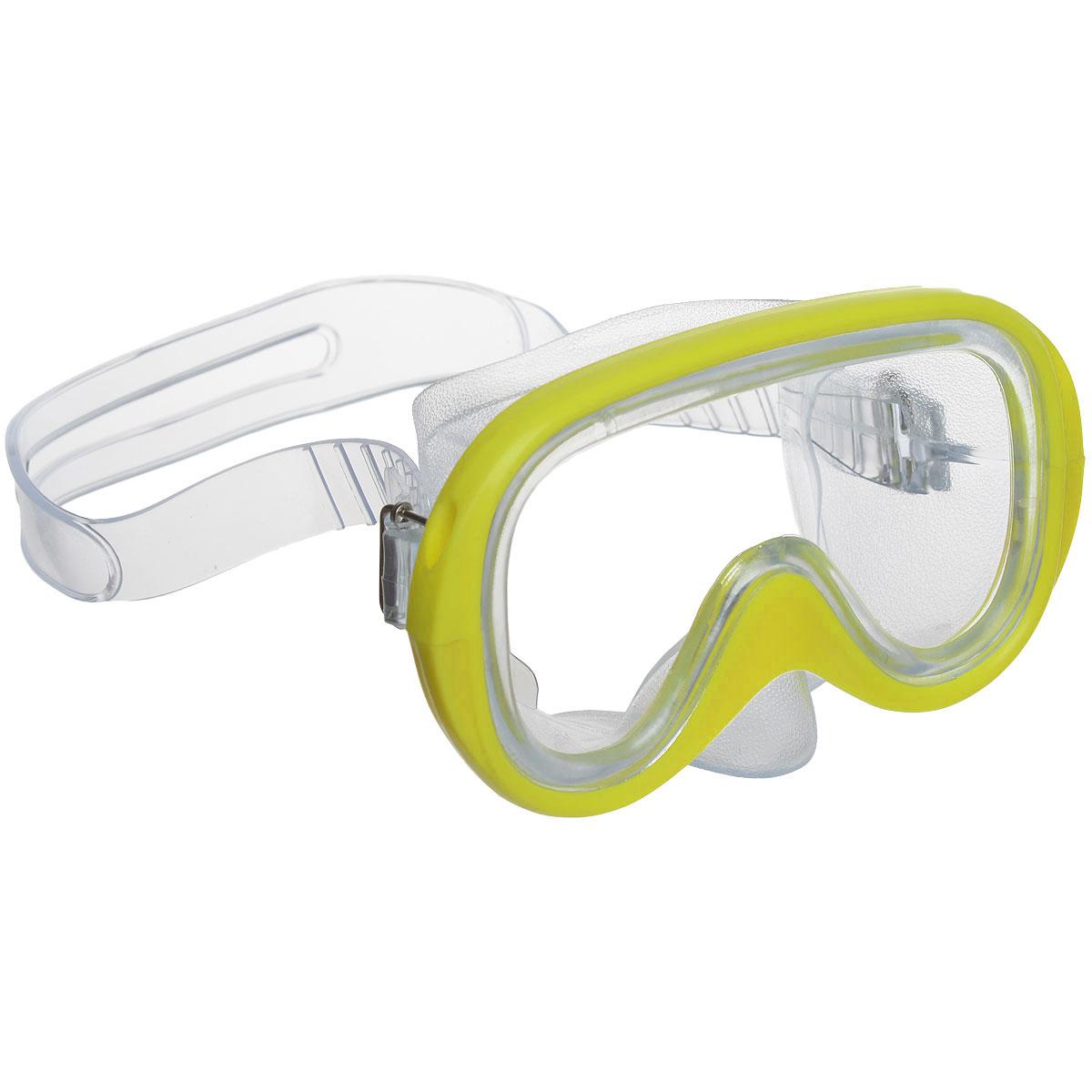 Маска для плавания Fashy Menorca, цвет: желтый8802-30Стильная маска Fashy Menorca отлично подойдет для подводного плавания. Она хорошо прилегает к лицу и обеспечивает превосходный обзор. Мягкий ремешок раздвоен в середине для более надежной фиксации маски на голове и регулируется с обеих сторон.