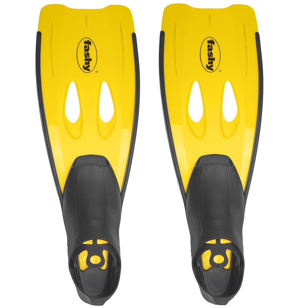 Ласты Fashy Swim Fins, цвет: желтый. Размер 40/418902-30Широкие ласты Fashy Swim Fins отлично подойдут для снорклинга в море и на отдыхе на водоемах. Закрытая калоша хорошо фиксирует пятку стопы, предотвращая потери ласты или выскальзывание ее с ноги в море. Ласты Fashy Swim Fins замечательно подходят для всей семьи. Они состоят из двух частей - основания из резины и рабочей поверхности из гибкого, легкого пластика. В ластах при малой затрате энергии придается высокая скорость за счет широкой поверхности, а сквозные отверстия придают бесшумность. Длина ласты: 54 см. Ширина ласты: 19 см.