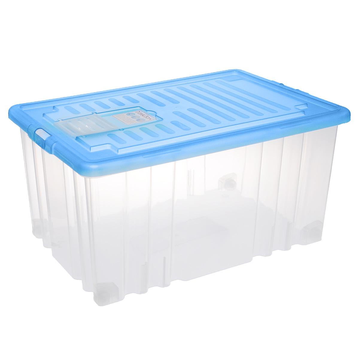 Ящик Darel Box, с крышкой, цвет: синий, прозрачный, 56 лЯФ0156Ящик Darel Box, изготовленный из прозрачного пластика, оснащен плотно закрывающейся крышкой и специальным клапаном для антимолиевых и дезодорирующих веществ. Изделие предназначено для хранения различных бытовых вещей. Идеально подойдет для хранения белья, продуктов, игрушек. Будет незаменим на даче, в гараже или кладовой. Выдерживает температурные перепады от -25°С до +95°С. Изделие имеет четыре маленьких колесика, обеспечивающих удобство перемещения ящика. Колеса бокса могут принимать два положения: утопленное - для хранения, и рабочее - для перемещения. Размер ящика: 65 см х 41,5 см х 31 см.