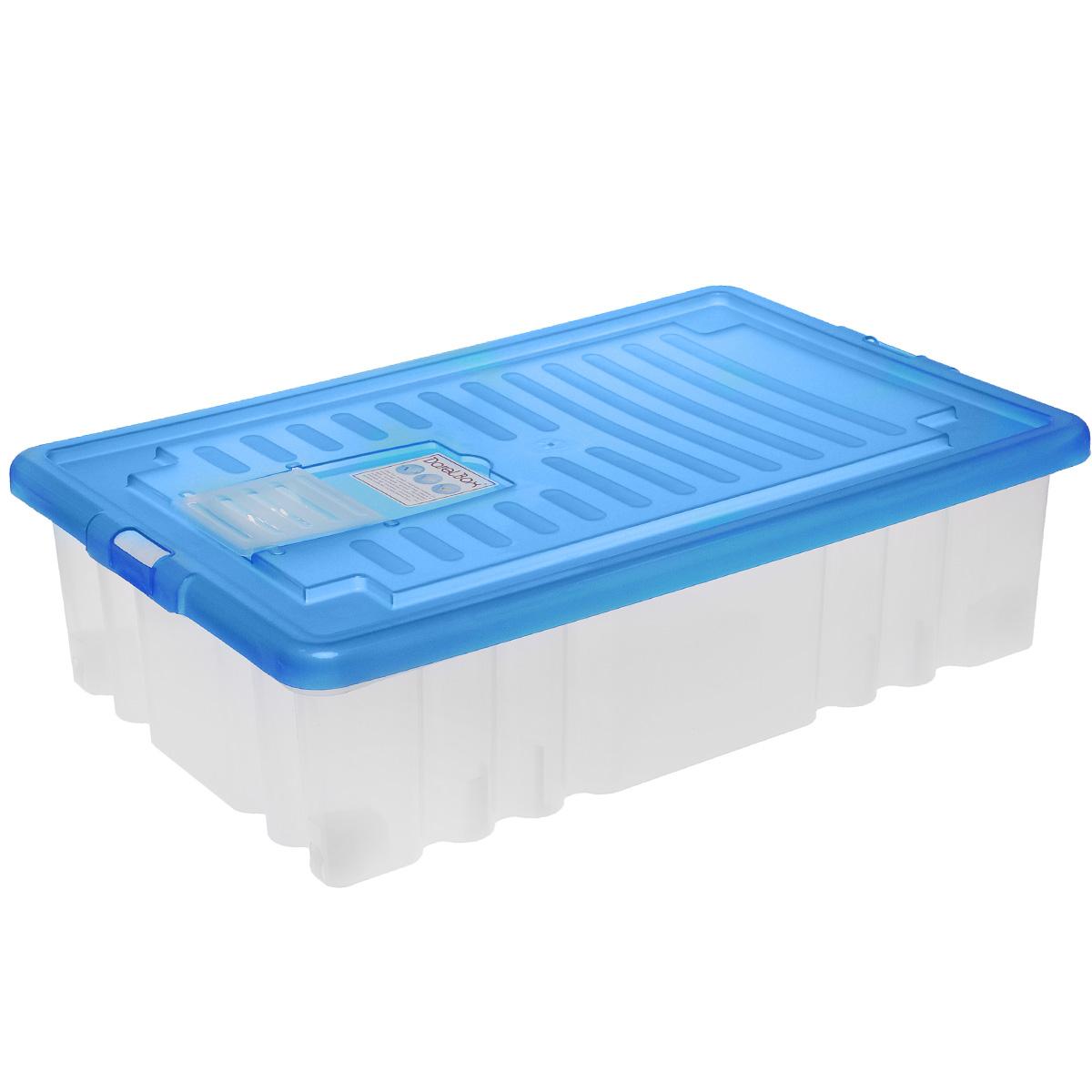 Ящик Darel Box, с крышкой, цвет: синий, прозрачный, 36 лЯФ0136Ящик Darel Box, изготовленный из пластика, оснащен плотно закрывающейся крышкой и специальным клапаном для антимолиевых и дезодорирующих веществ. Изделие предназначено для хранения различных бытовых вещей. Идеально подойдет для хранения белья, продуктов, игрушек. Будет незаменим на даче, в гараже или кладовой. Выдерживает температурные перепады от -25°С до +95°С. Изделие имеет четыре маленьких колесика, обеспечивающих удобство перемещения ящика. Колеса бокса могут принимать два положения: утопленное - для хранения, и рабочее - для перемещения. Размер ящика: 61 см х 40 см х 17 см.