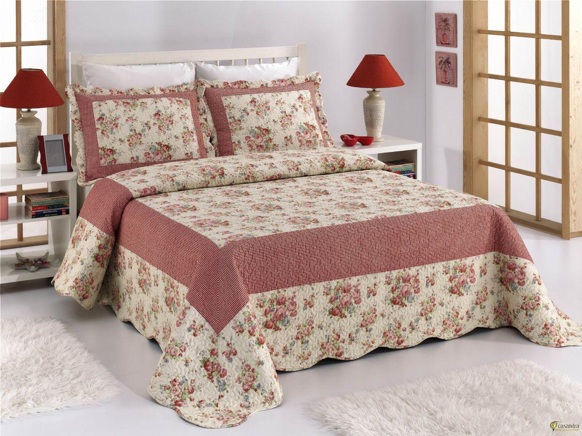 """Комплект для спальни """"Buenas Noches"""": покрывало 230 см х 250 см, 2 наволочки 50 см х 70 см, цвет: бежевый, розовый. 70388"""
