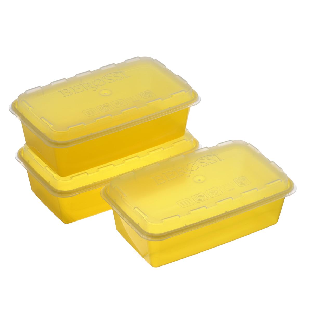 Набор контейнеров для СВЧ и заморозки Berossi Zip, цвет: желтый, 3 штИК17455Набор Berossi Zip, выполненный из высококачественного пищевого прозрачного пластика, состоит из трех контейнеров. Изделия предназначены для хранения и транспортировки пищи. Крышки легко открываются и плотно закрываются с помощью легкого щелчка. Контейнеры удобно складываются друг в друга, что экономит пространство при хранении в шкафу. Подходят для использования в микроволновой печи без крышки (до +120°С), для заморозки при минимальной температуре -20°С. Можно мыть в посудомоечной машине.
