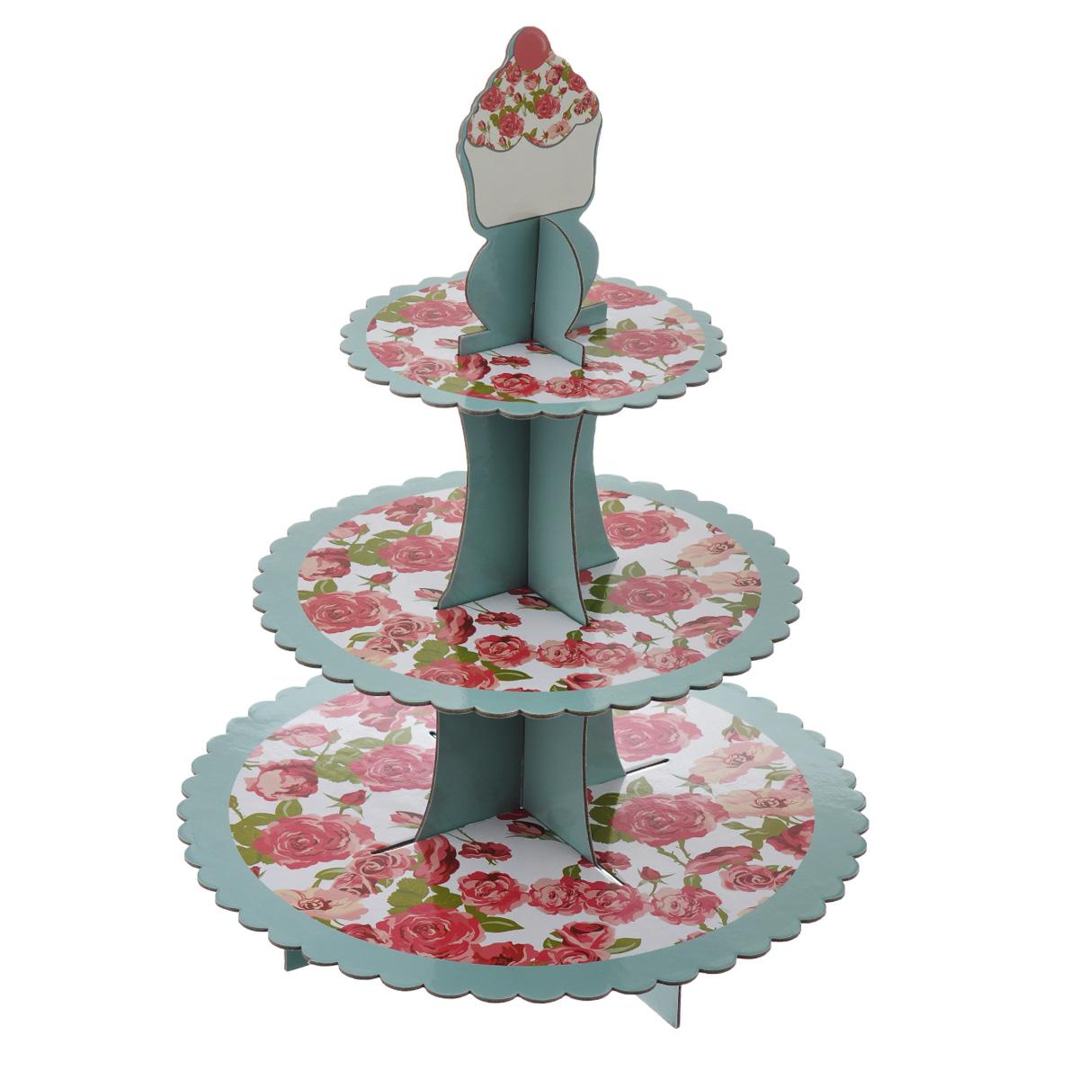 Подставка под маффины Dolce Arti, высота 40 смDA080217Трехъярусная подставка под маффины Dolce Arti изготовлена из плотного картона и оформлена принтом с изображением красных роз. Блюда круглые, с рельефом по краю. Подставка поставляется в разобранном виде, она легко собирается - в собранном виде выглядит оригинально и красиво. Такая подставка идеально подходит для красивой подачи пирожных, маффинов, кексов и другой выпечки. Диаметр блюд: 23,5 см, 29 см, 33 см. Высота (в собранном виде): 40 см.