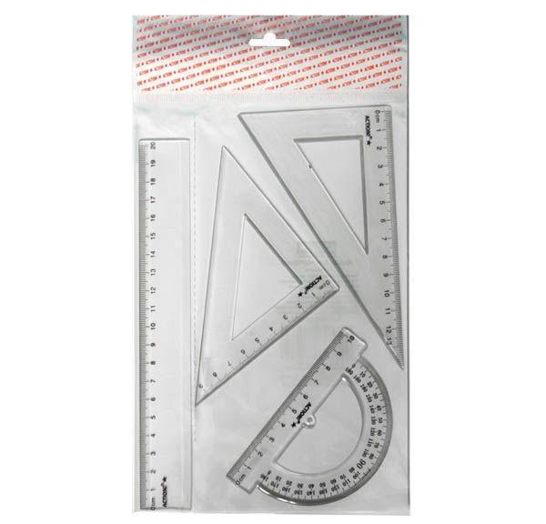 Набор для черчения-линейка 20см, 2 треугольника-30/13,45/9, транспортир-10см, прозрачн., е/п