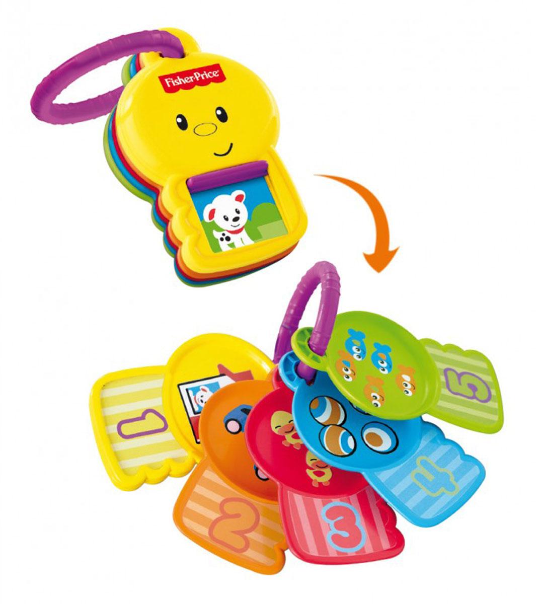 Fisher-Price Newborn Ключики Считай и познавайY4294Яркие ключики Fisher-Price Считай и познавай не оставит вашего малыша равнодушным и не позволит ему скучать! Игрушка выполнена из прочного безопасного пластика и представляет собой кольцо, на которое нанизаны пять ключиков разных цветов. На каждом из них изображена цифра и разные предметы, количество которых соответствует цифре на ключе. На ключике с цифрой 1 имеется окошко, под которым скрывается симпатичный щенок. Малыш сможет его найти и снова спрятать. Игрушку с помощью пластикового кольца можно подвесить на кроватку, коляску, кресло или игровую дугу ребенка. Ключики Считай и познавай поможет малышу развить цветовое и звуковое восприятие, мелкую моторику рук, координацию движений, а также познакомиться с цифрами от 1 до 5 и освоить счет.