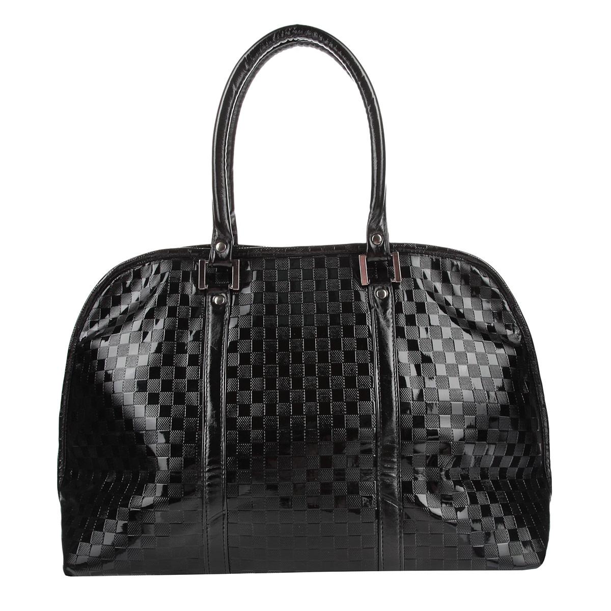 Сумка женская Antan Клеточки, цвет: черный. 3-49 В3-49 В клеточки лак/черныйЭлегантная сумка от бренда Antan выполнена из искусственной лакированной кожи с декоративным тиснением. Модель имеет одно главное отделение, закрывающееся на застежку-молнию с двумя бегунками. Внутри - два накладных кармана для мелочей и вшитый кармашек на молнии. С внешней стороны расположен дополнительный накладной карман. Сумка оснащена двумя удобными ручками. Сумка - это стильный аксессуар, который подчеркнет вашу изысканность и индивидуальность и сделает ваш образ завершенным.