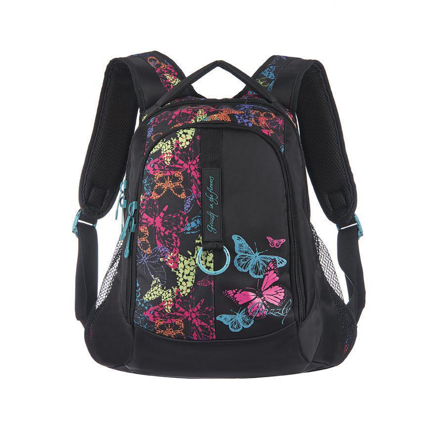 Рюкзак городской Grizzly, цвет: бабочки, 24 л. RD-521-1/4RD-521-1/4Рюкзак с двумя отделениями, боковыми карманами с сеткой, карманом-пеналом, укрепленными лямками и спинкой